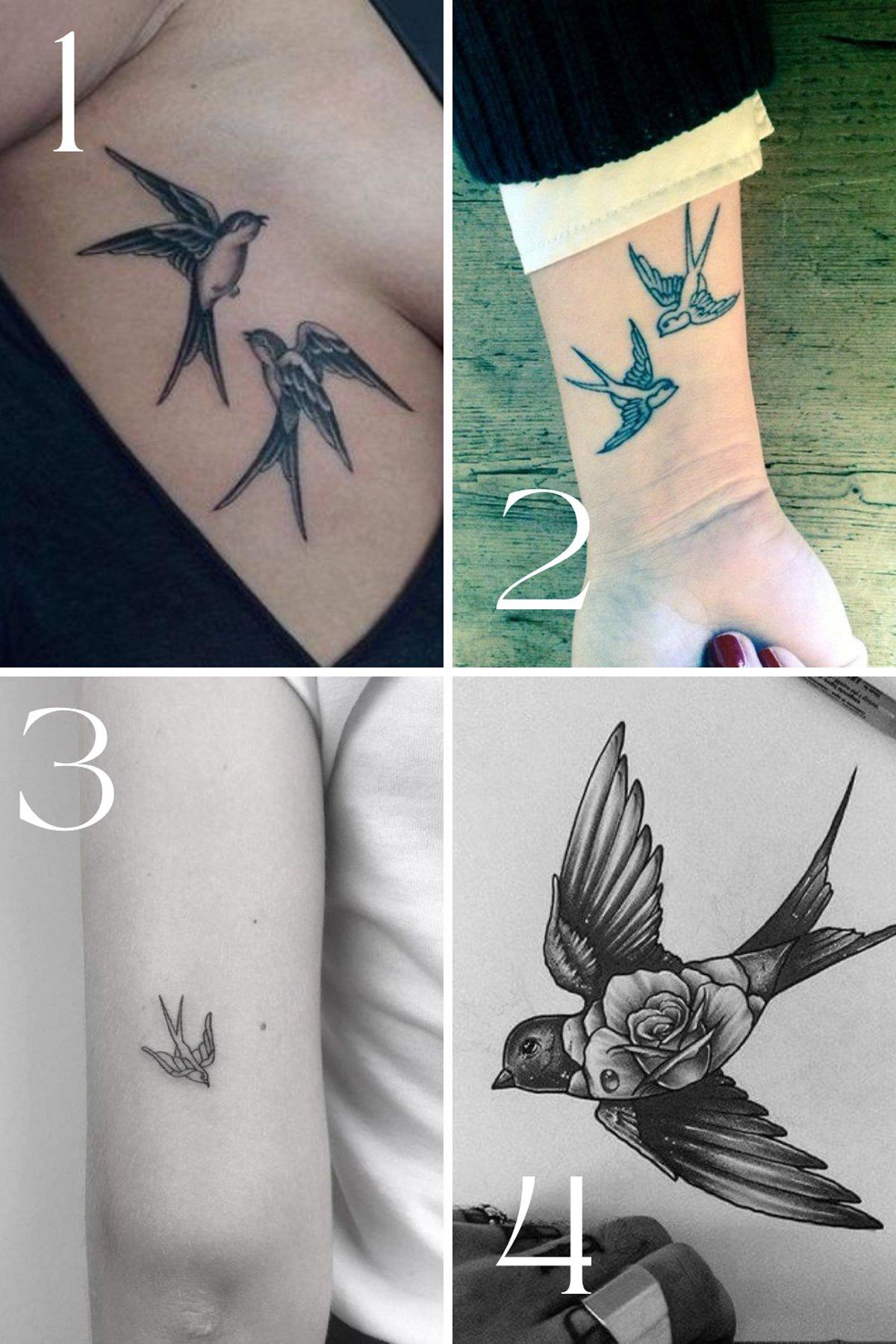 Two Sparrow Birds Tattoo Designs