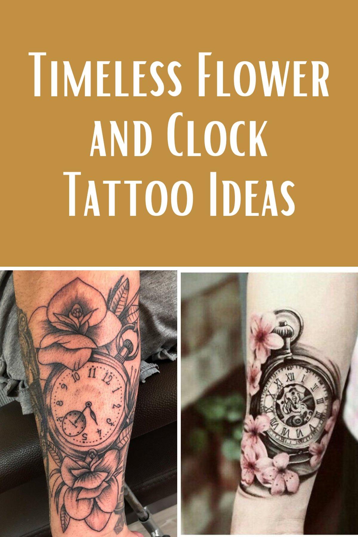 Clock and Flower Tattoo Ideas