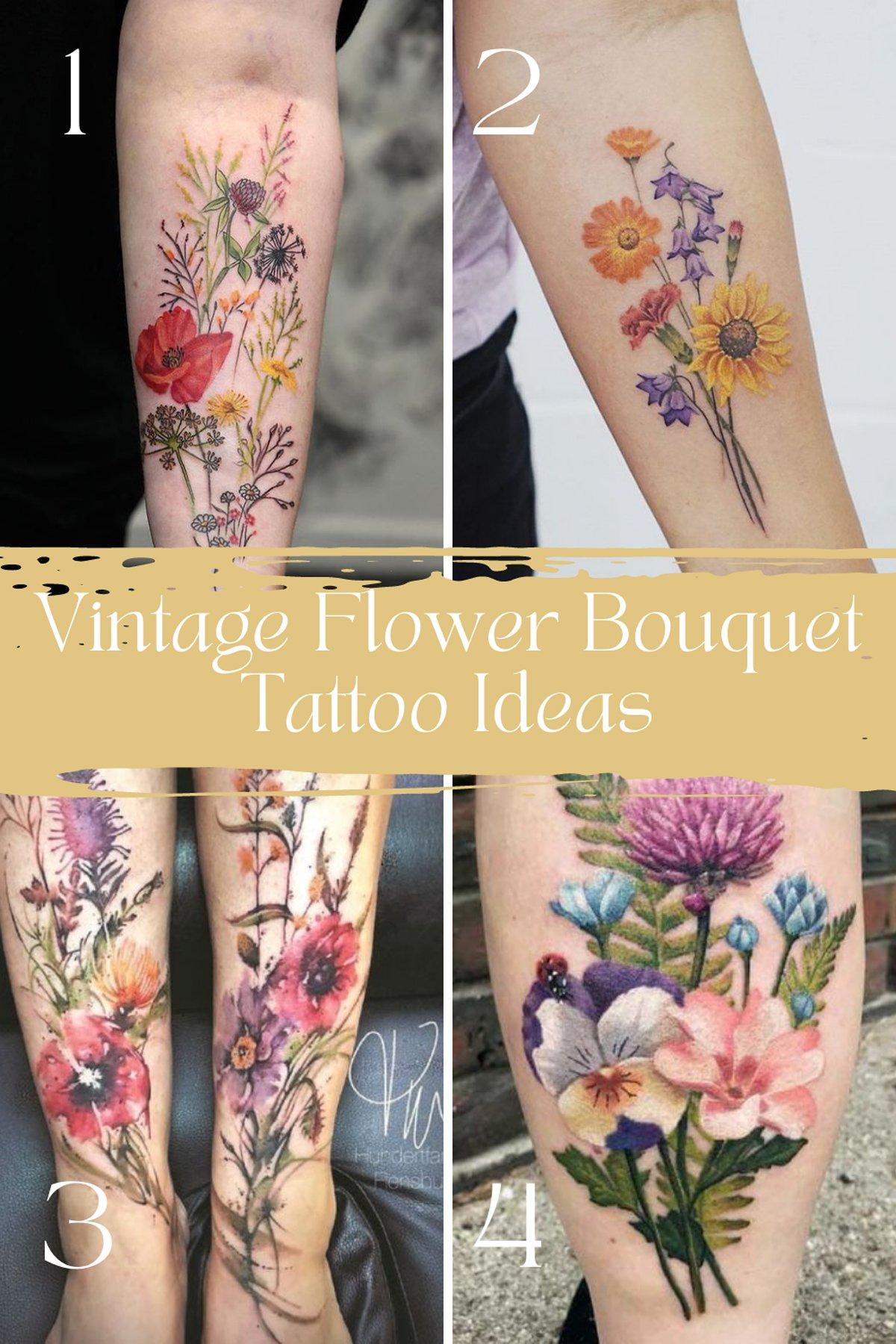 Colorful Vintage Flower Tattoo Designs