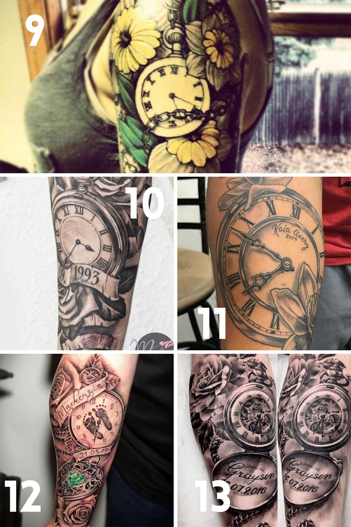 Birth Time Clock Tattoo Ideas