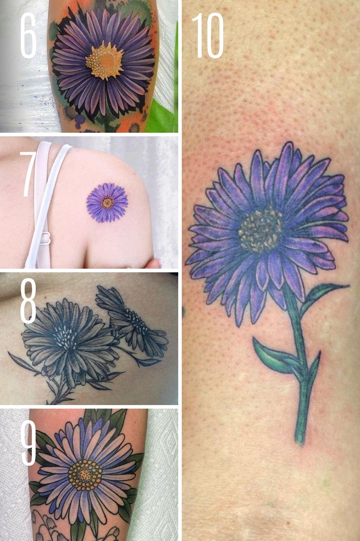 Purple Floral Tattoo Patterns