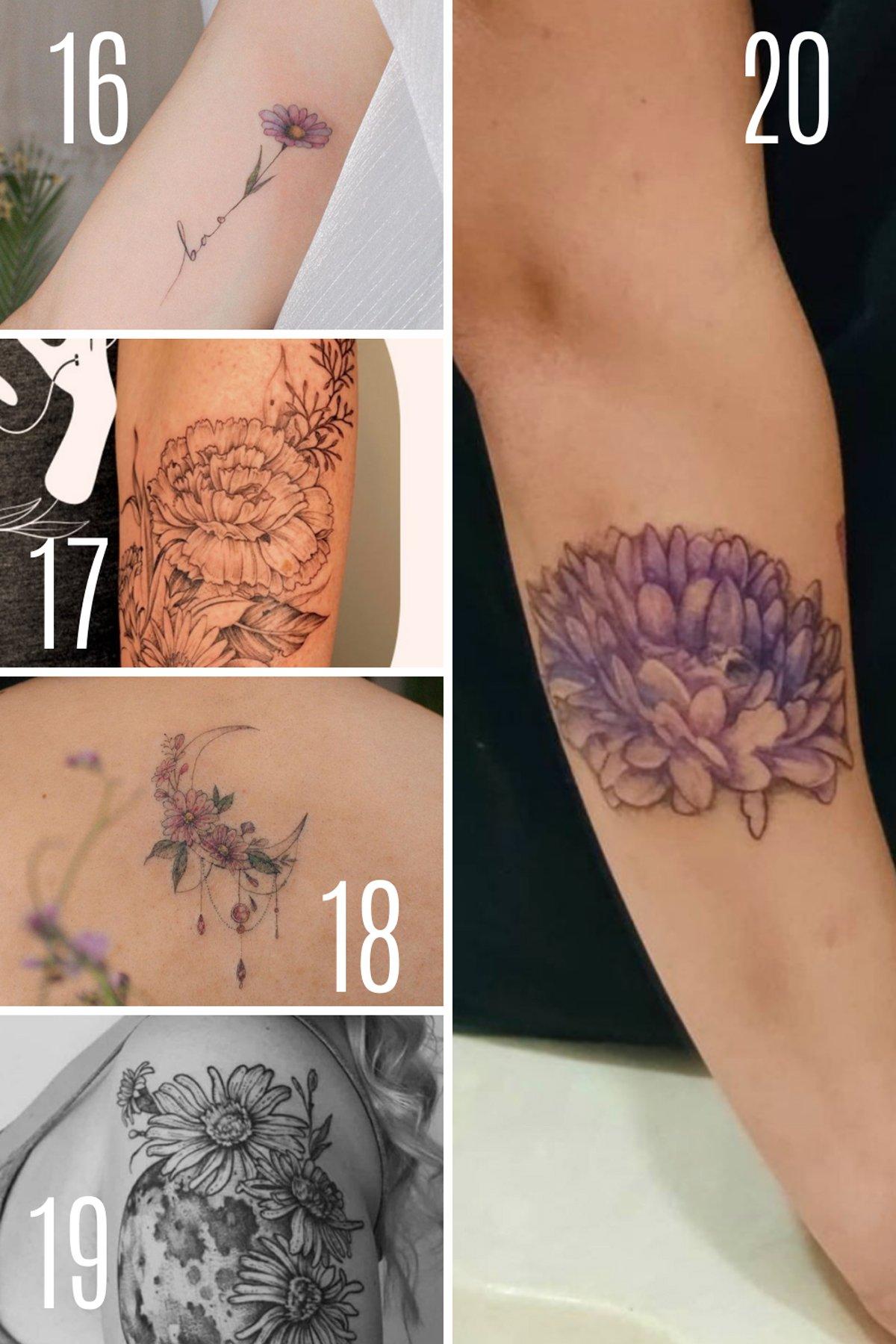 Aster Flower Tattoo Sleeve Designs