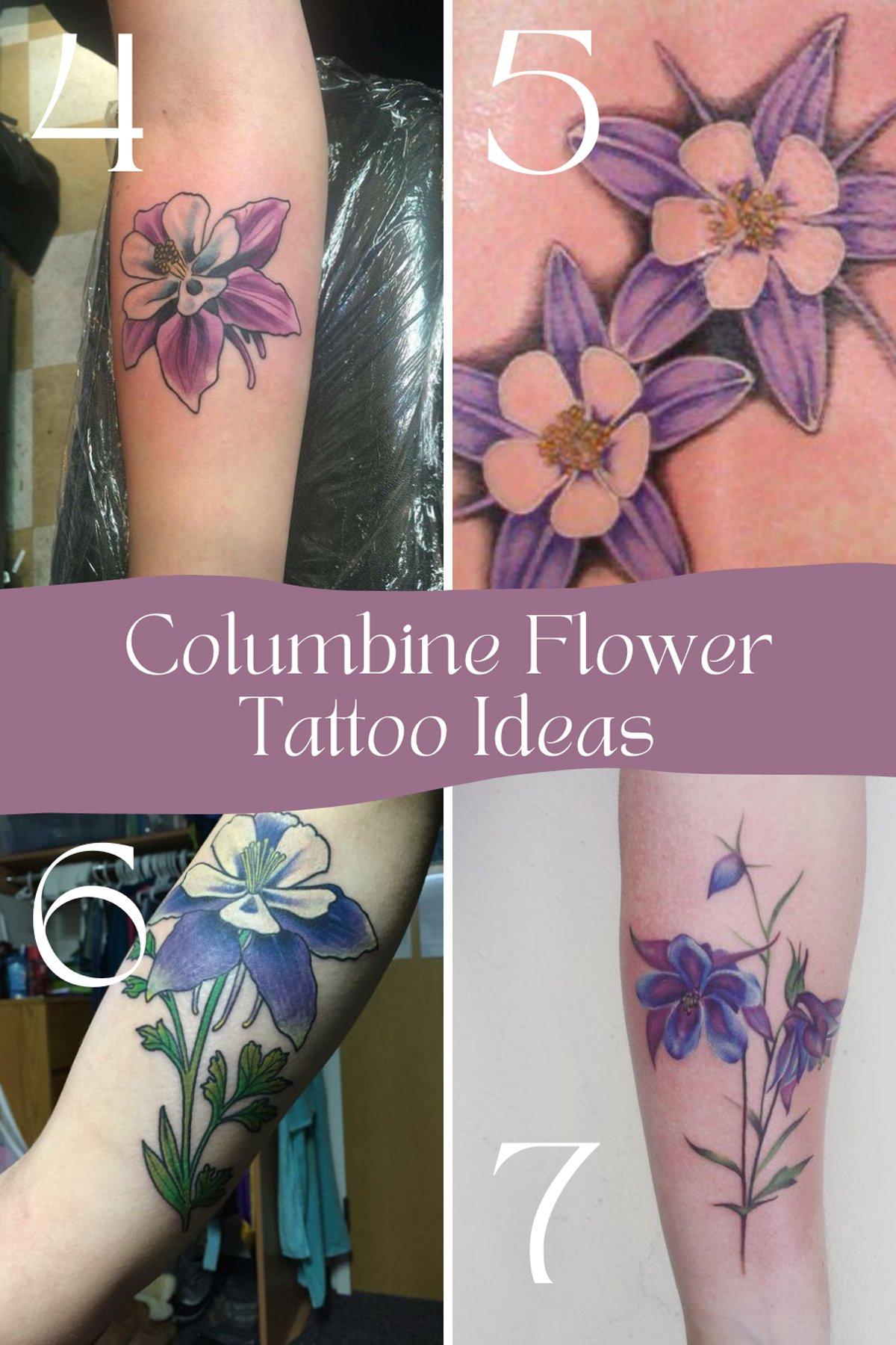 Columbine Colorful Flower Tattoo Ideas