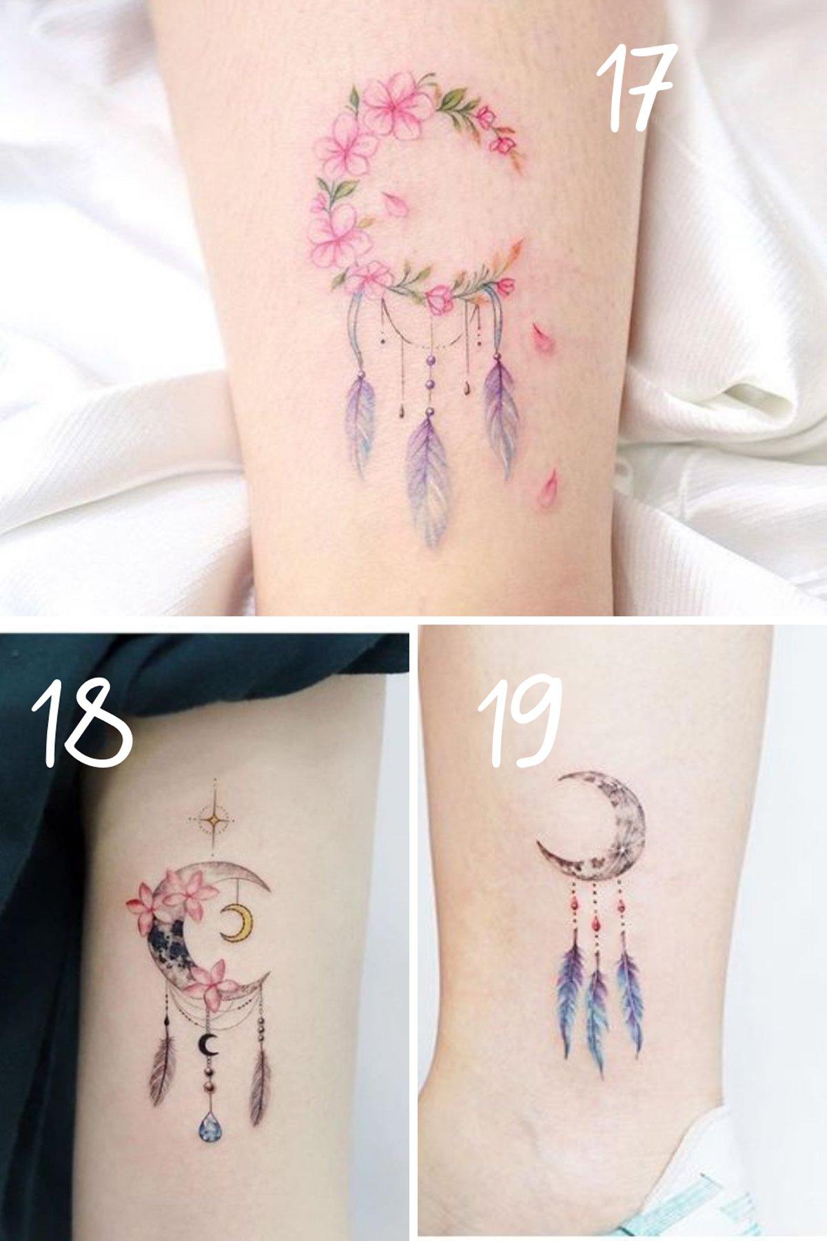 Flower Dream Catcher Tattoo For Women