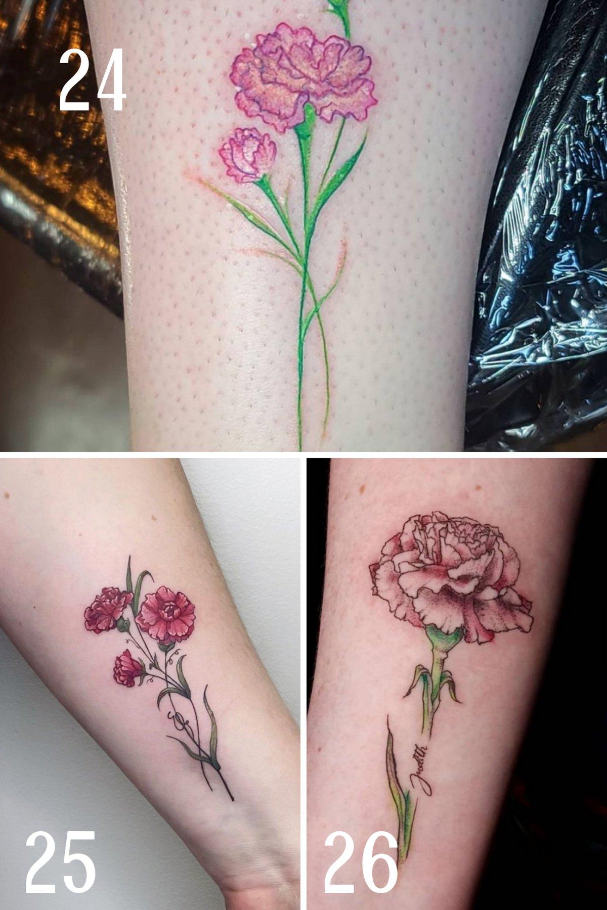 Pink carnation Tattoos