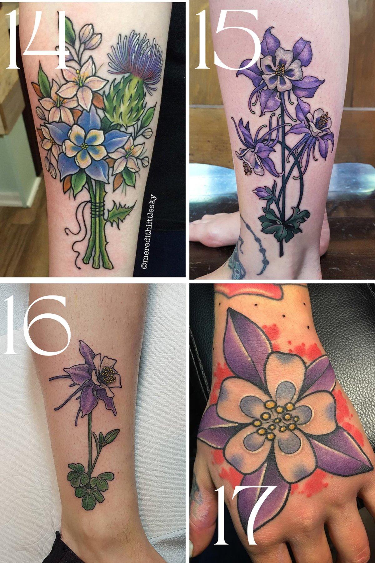 Columbine Flower Tattoo Designs