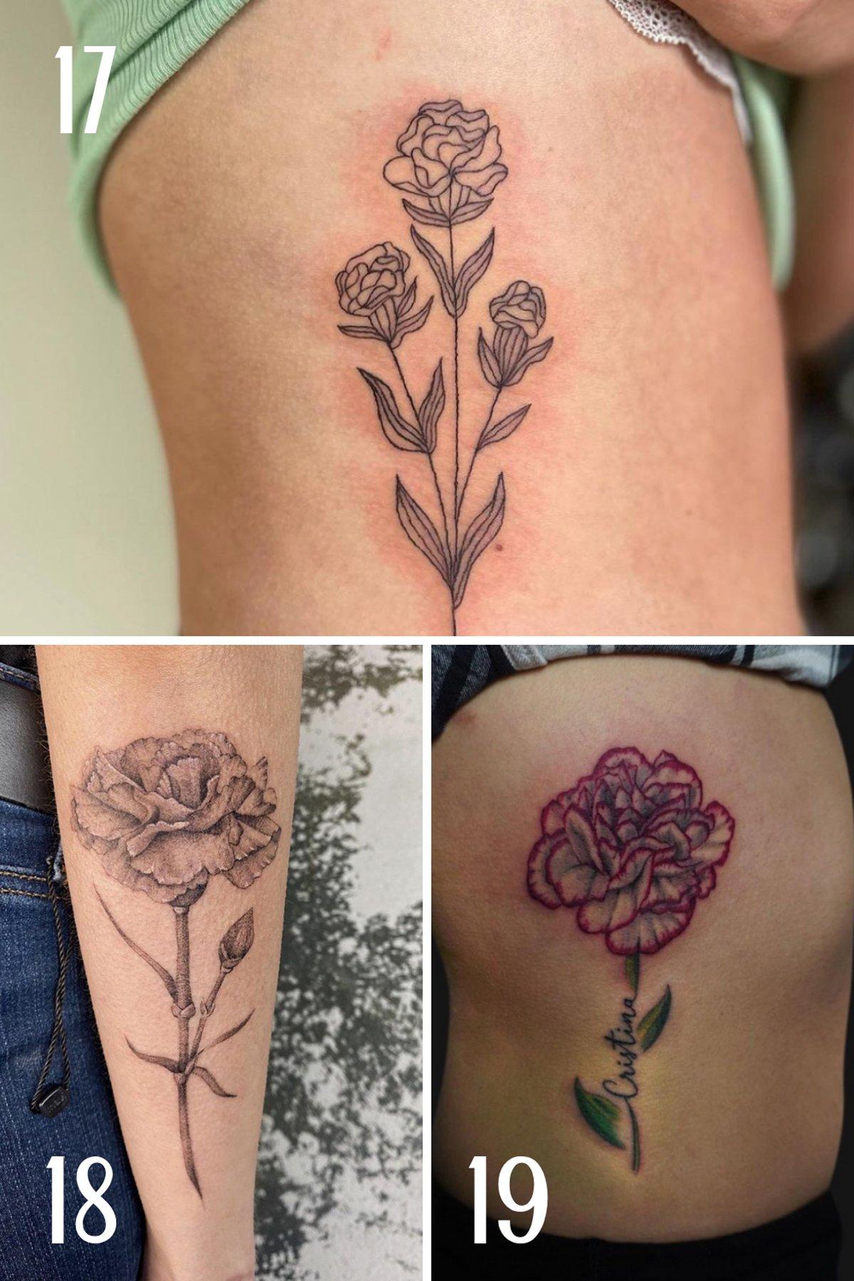 Large Carnation Tattoos
