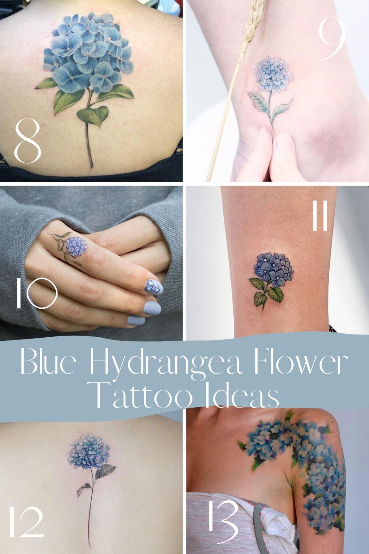 Blue Hydrangea Flower Tattoo