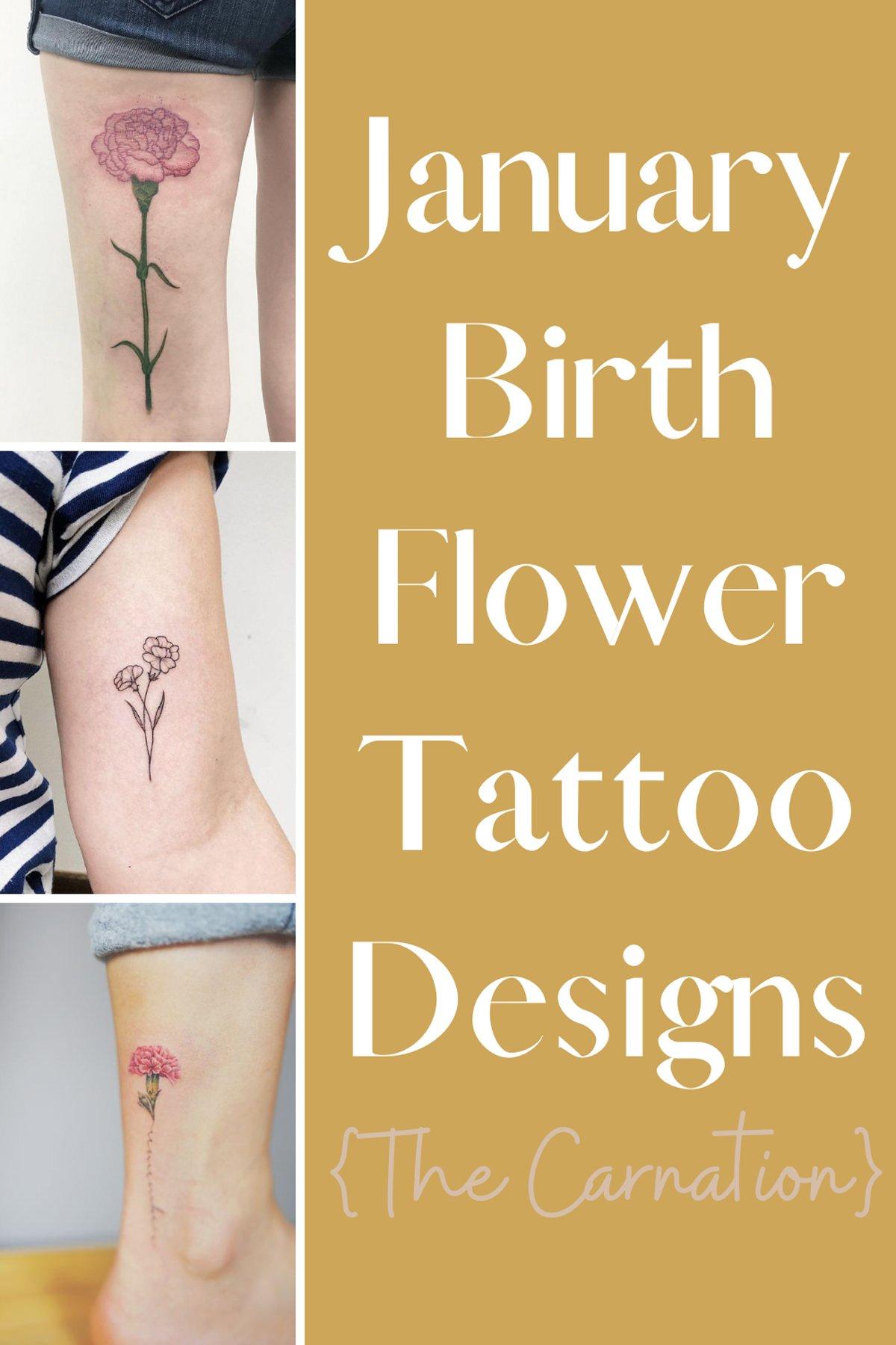 January Birth Flower Tattoo Designs