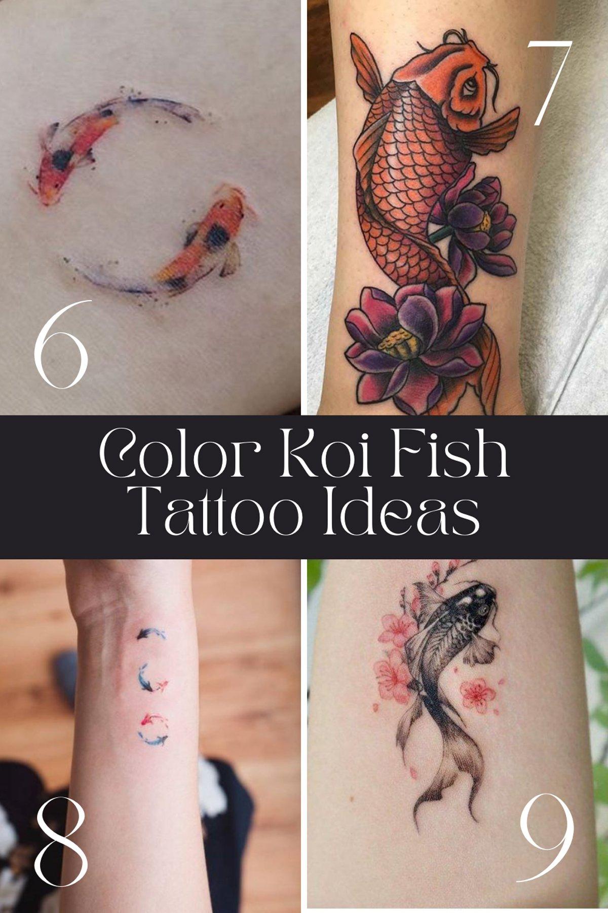 Color Koi Fish Tattoo Designs