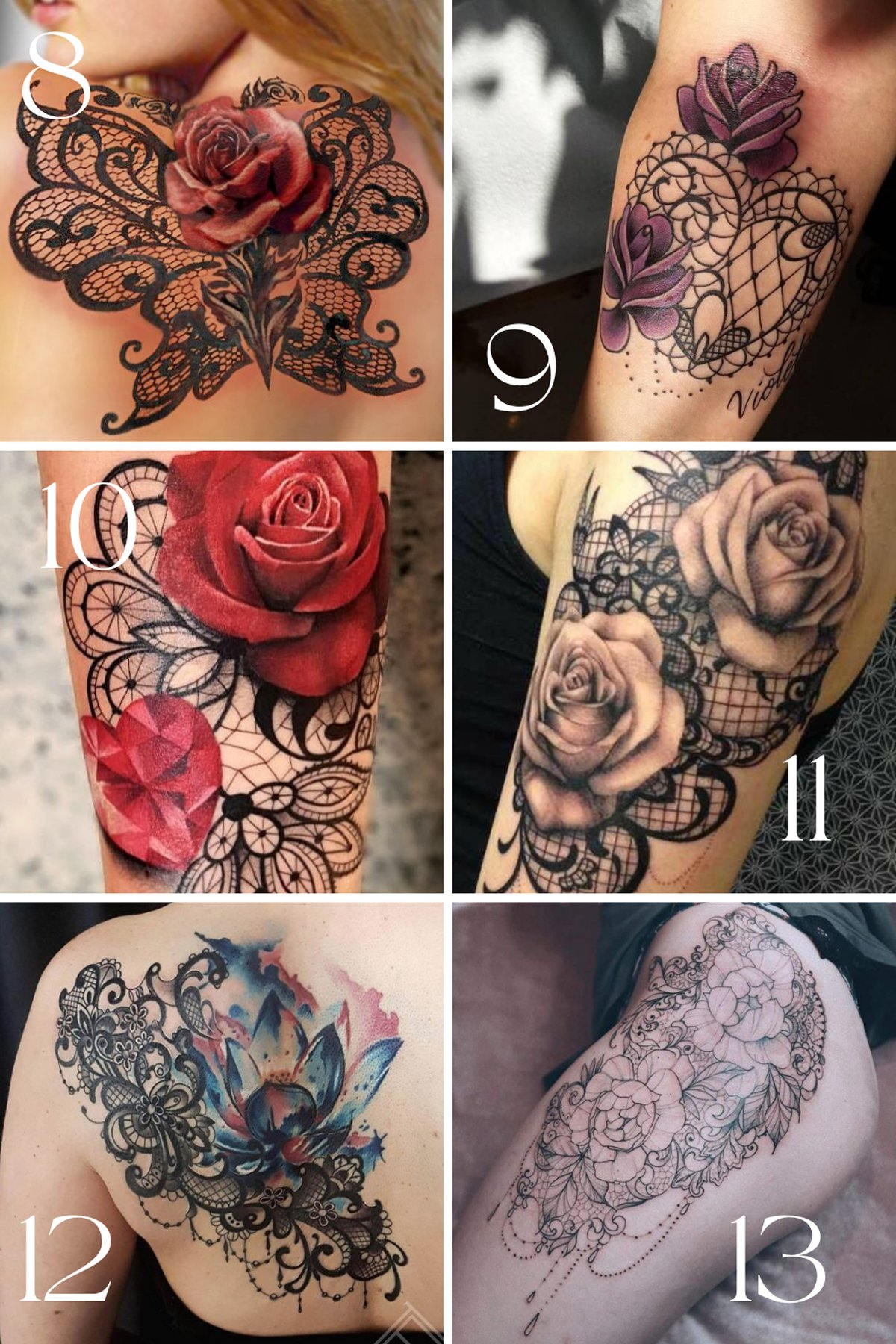 Flower and lace tattoo sleeve designs