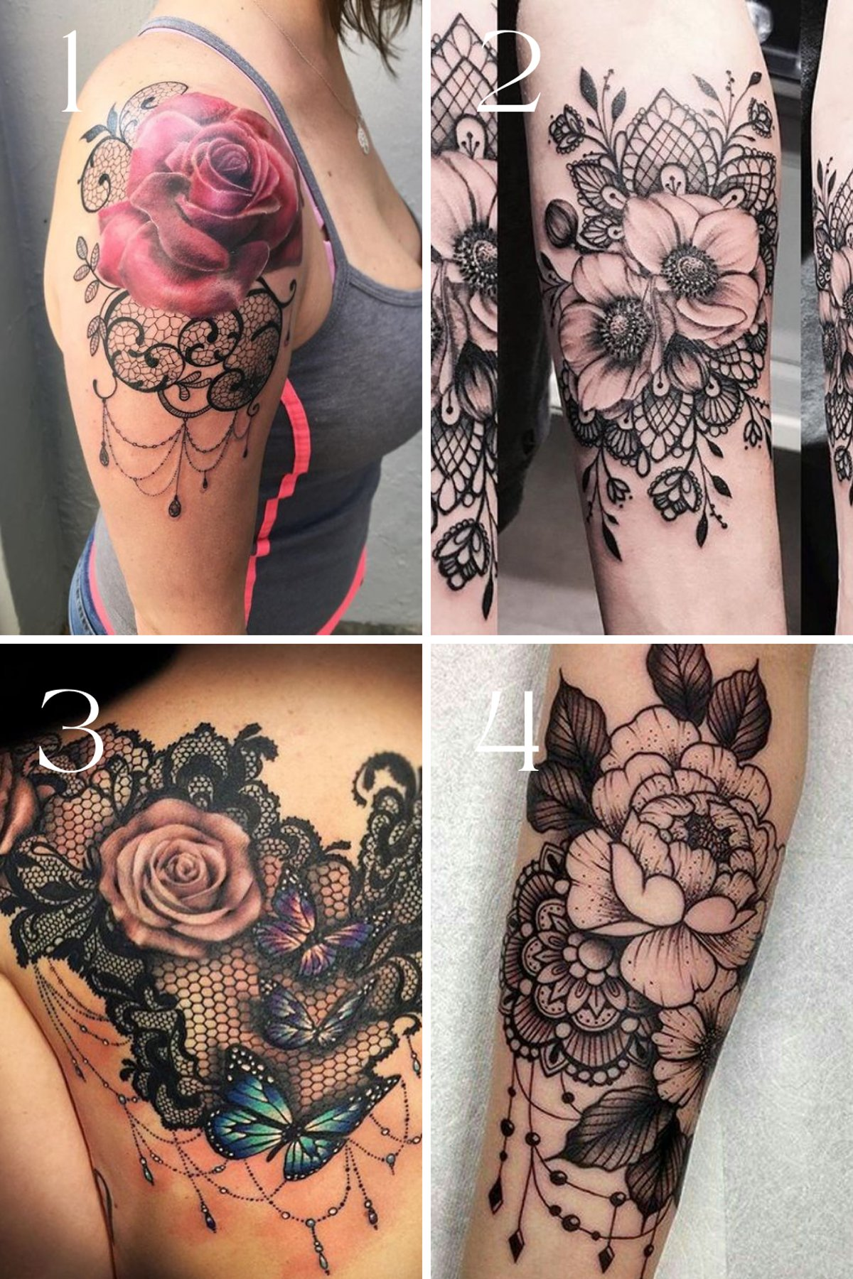 Lace tattoo design with flowers