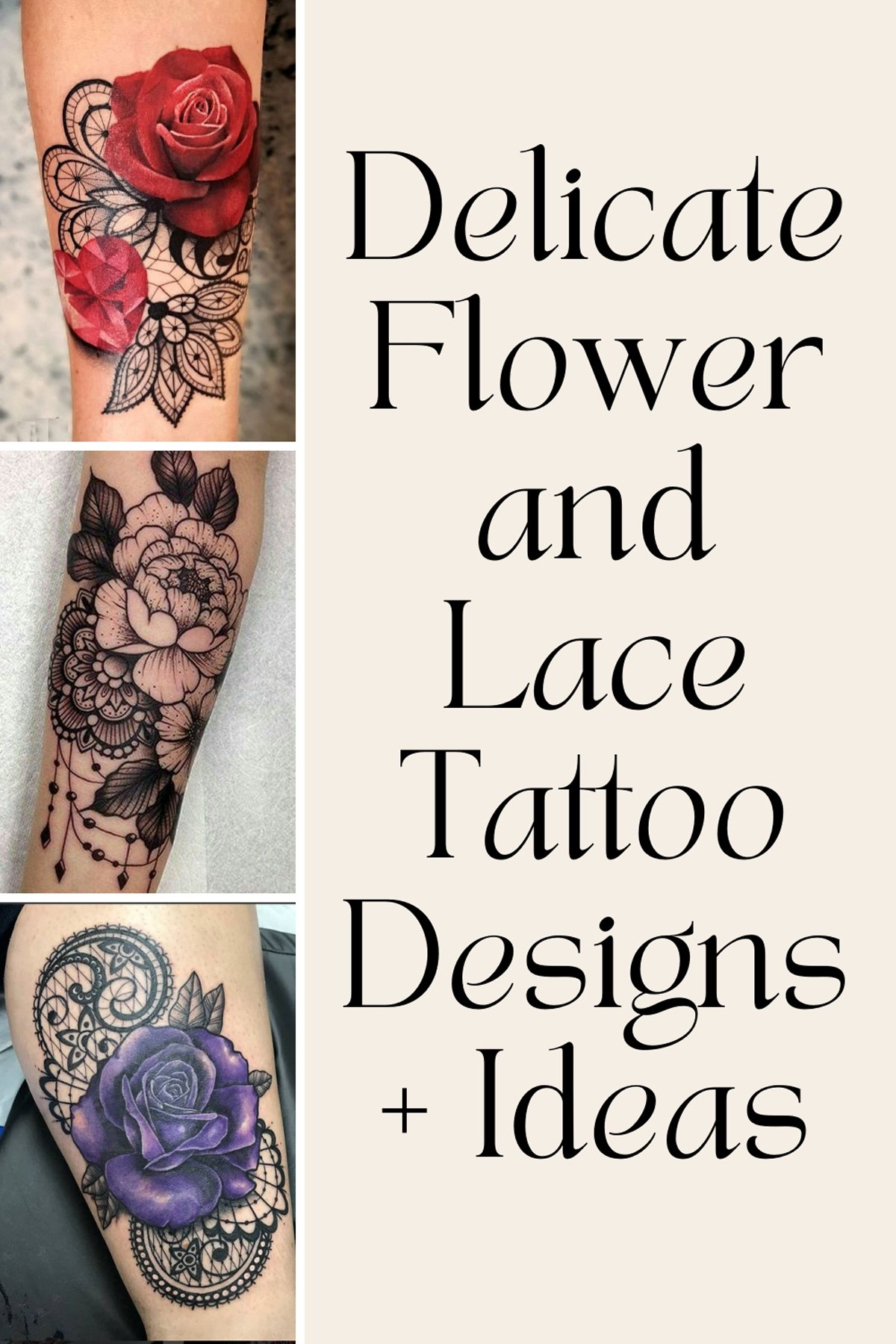 Flower and Lace Tattoo Designs Idea