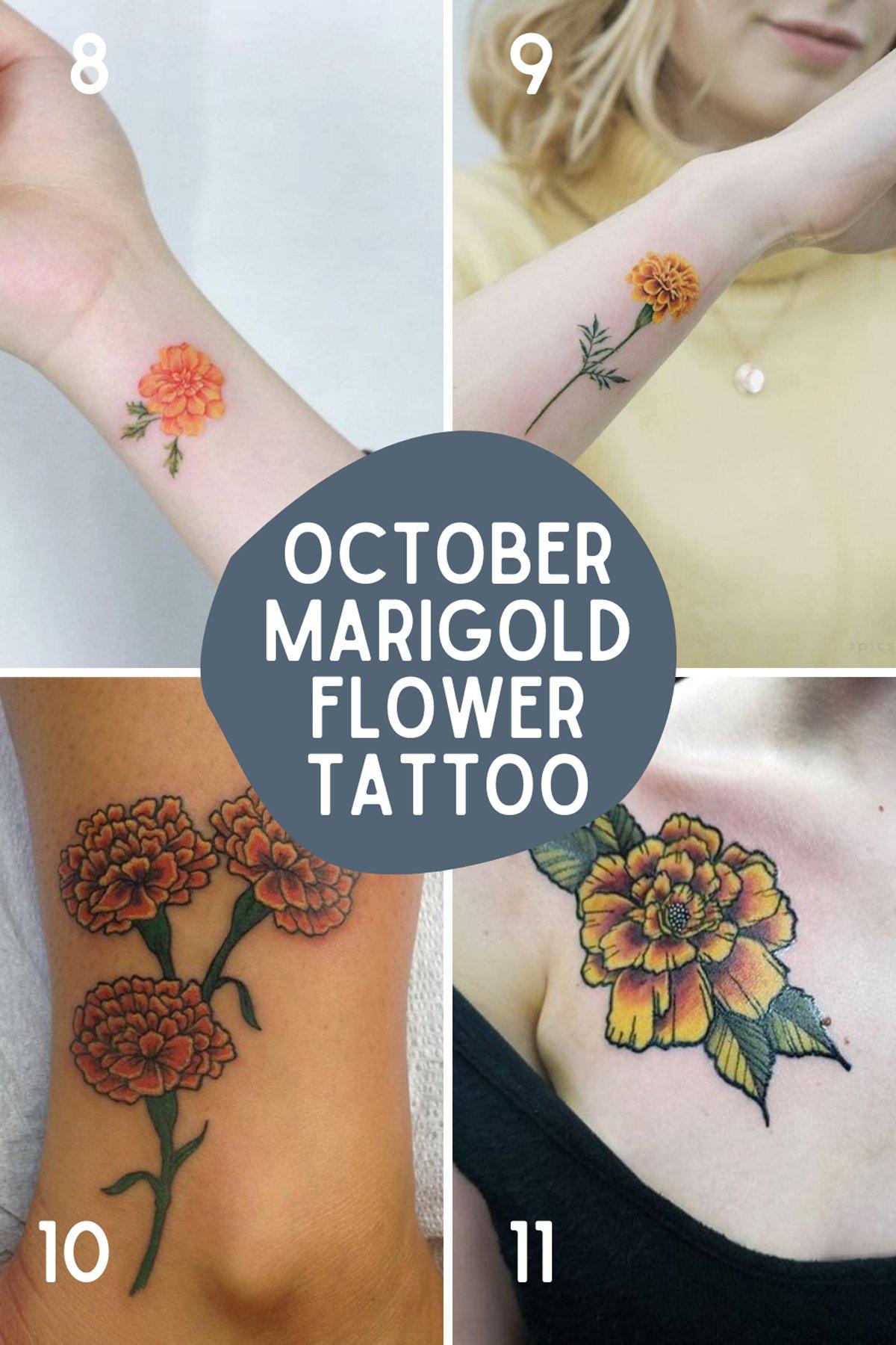 October Marigold Flower Tattoo