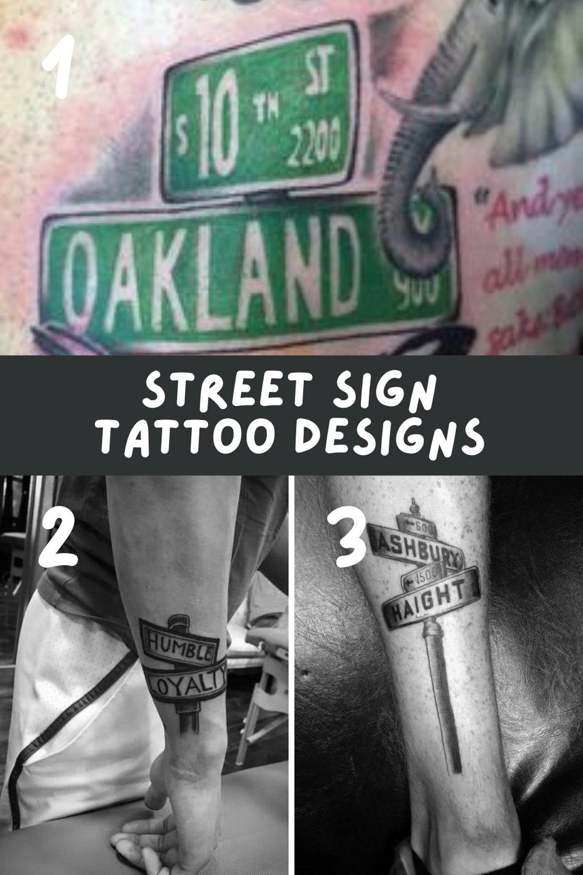 Street Sign Tattoo Designs