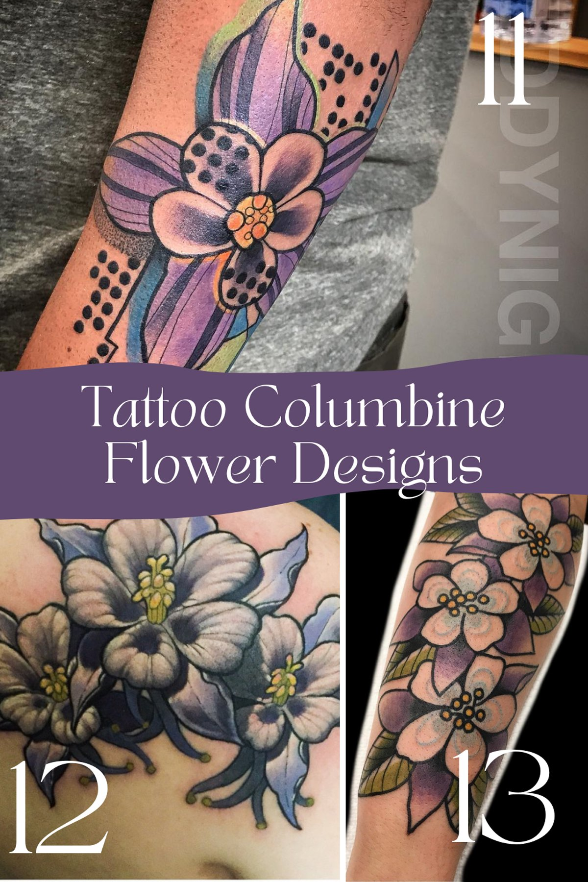 Purple Aquilegia Flower Tattoos