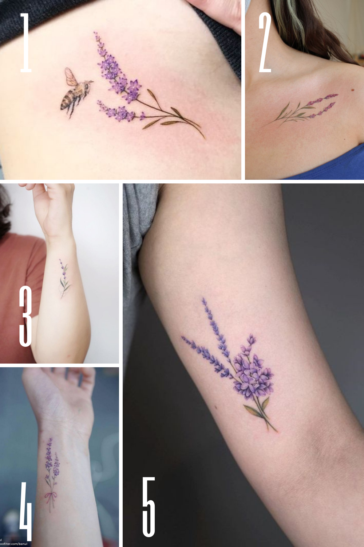 Pretty purple floral Tattoo Ideas