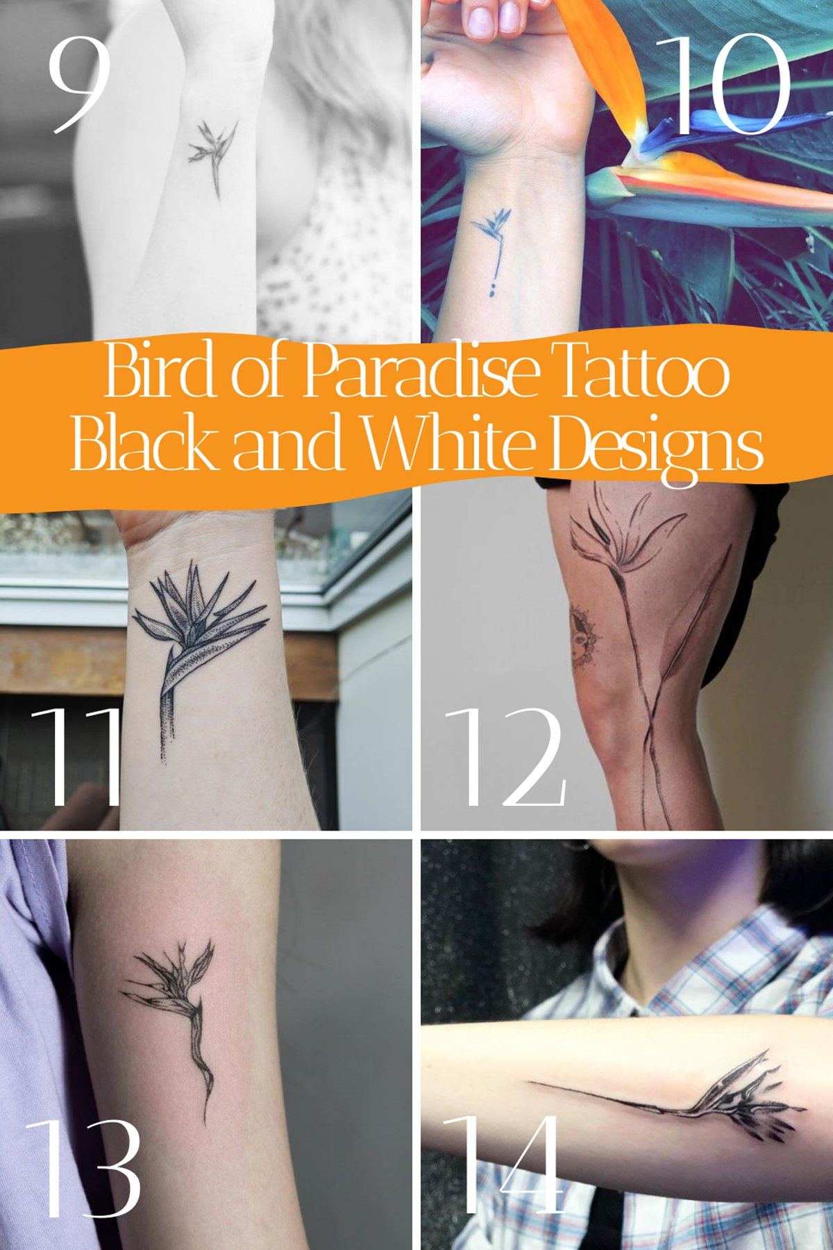 Black and White Bird Flower Tattoos