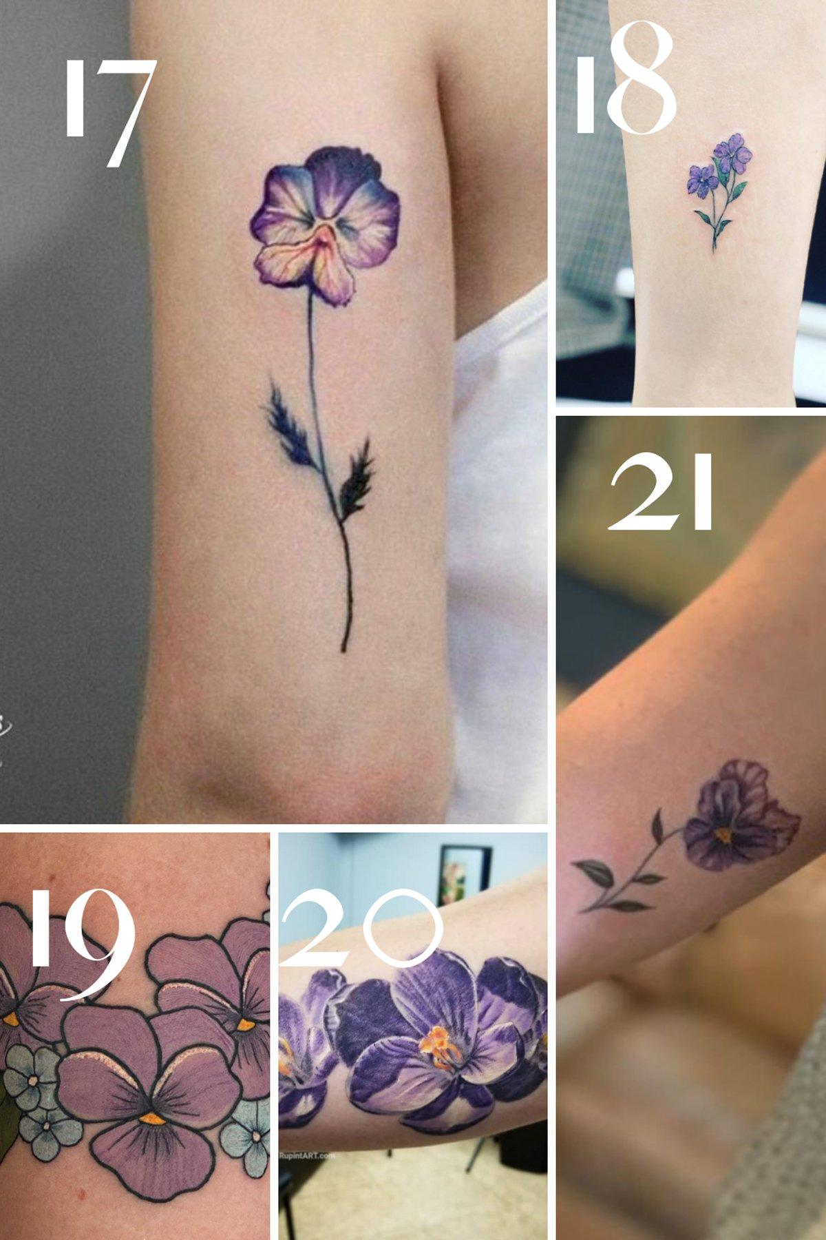 Purple Flowers Tattoos Designs