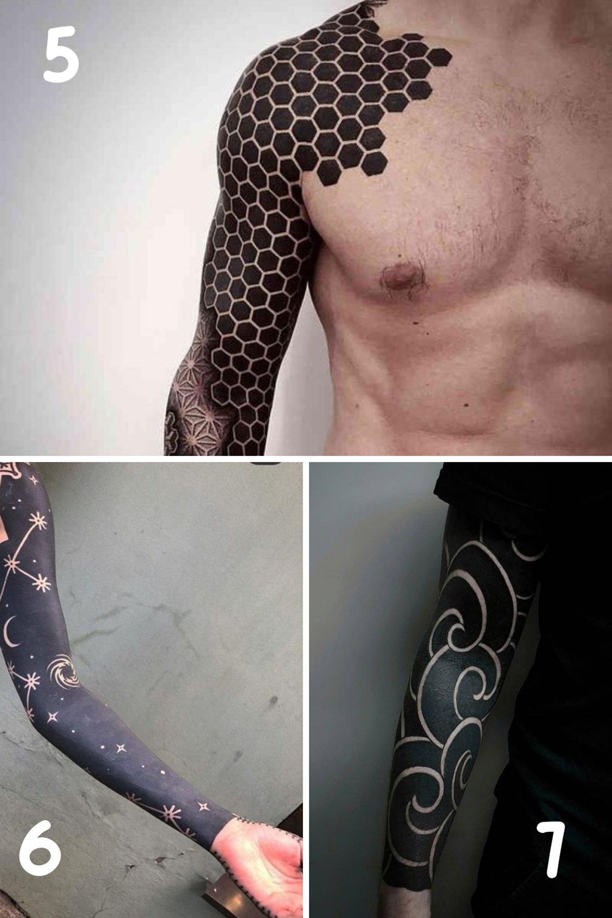 Blackout arm tattoos Designs