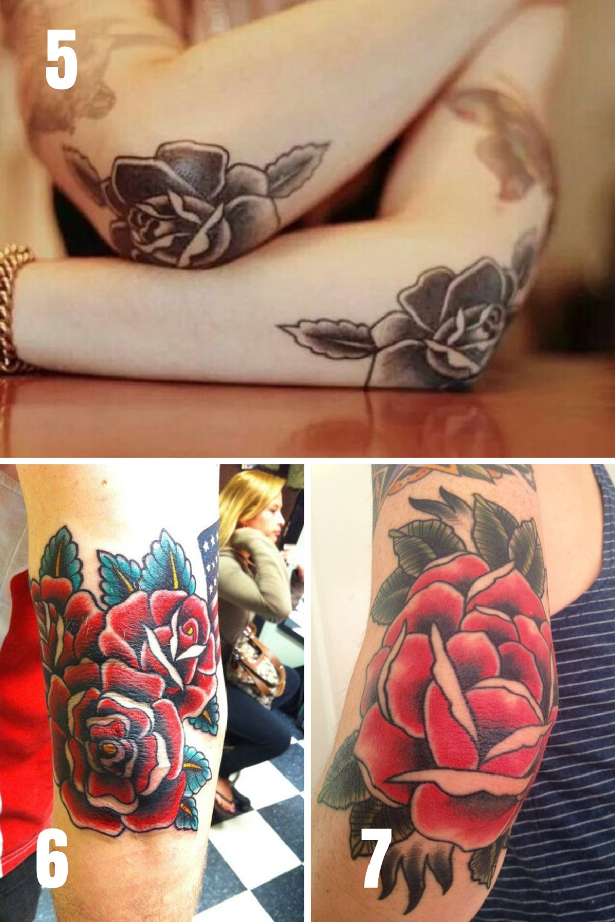 Flower tattoos for elbows