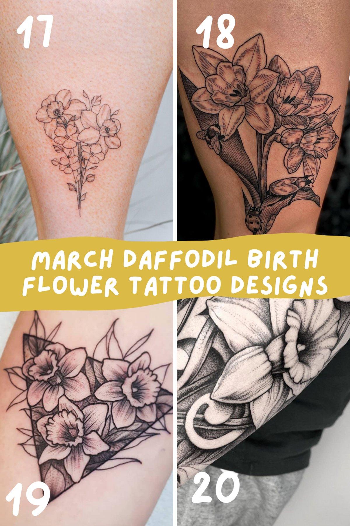 March Daffodil Birth Flowers Tattoos Designs