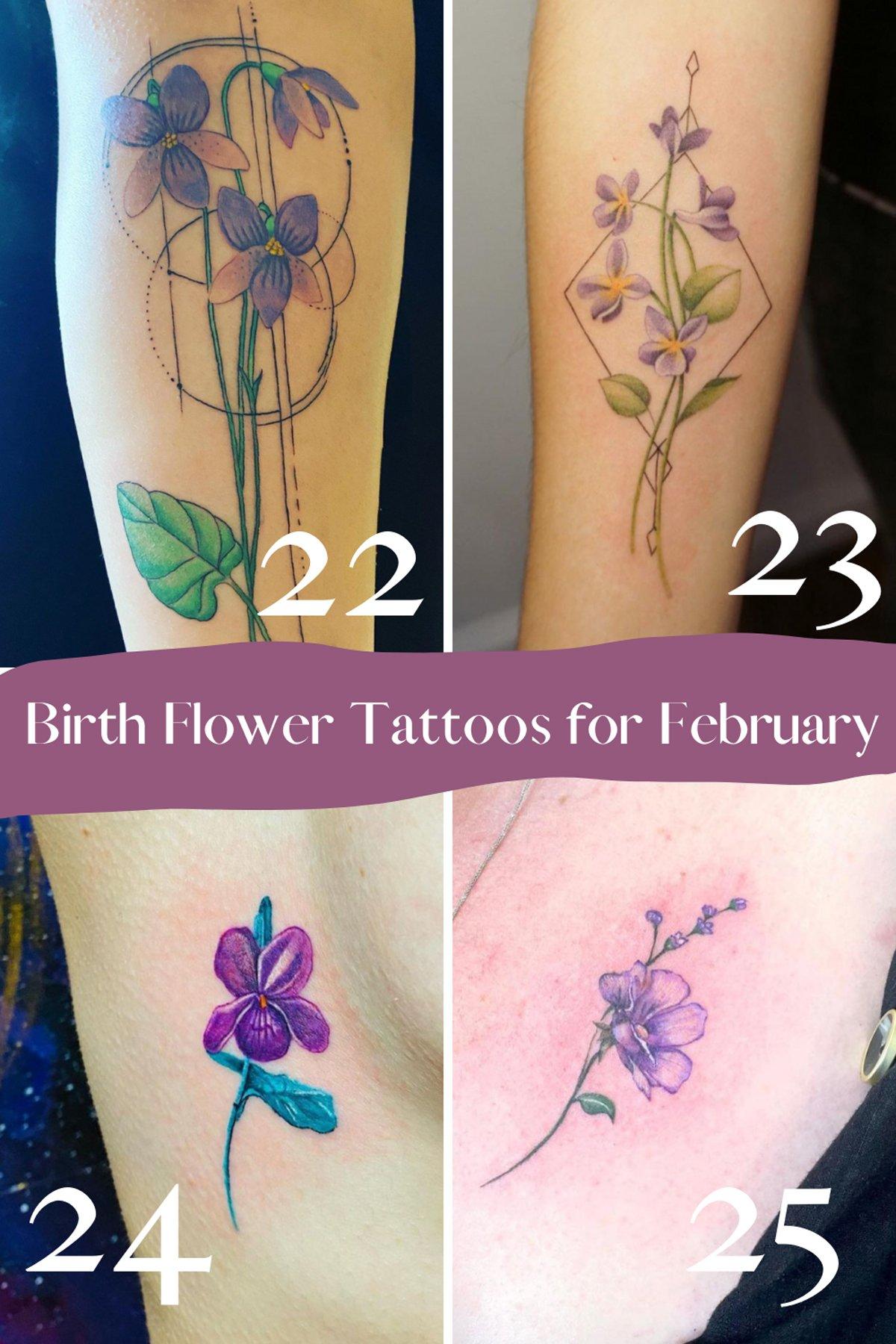 February Birth Flower Tattoo