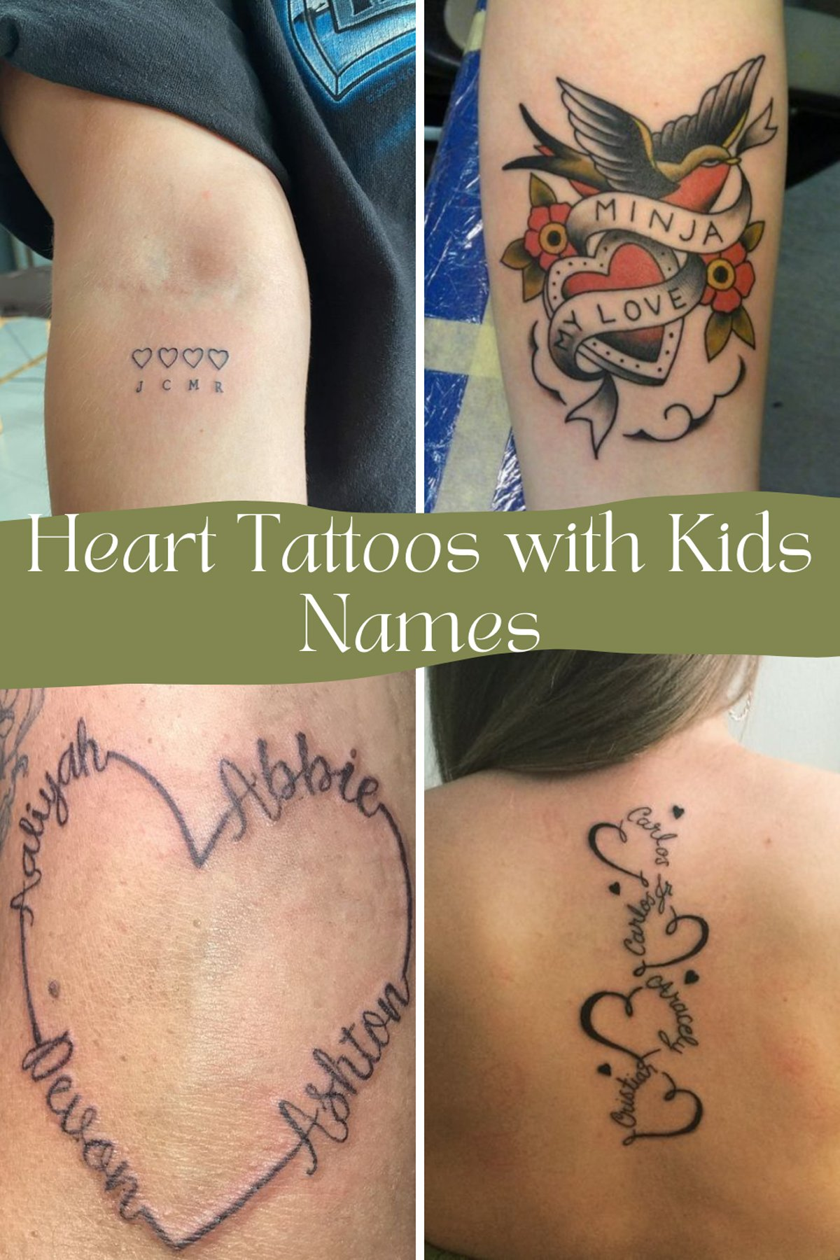 Heart Tattoos with Kids Names