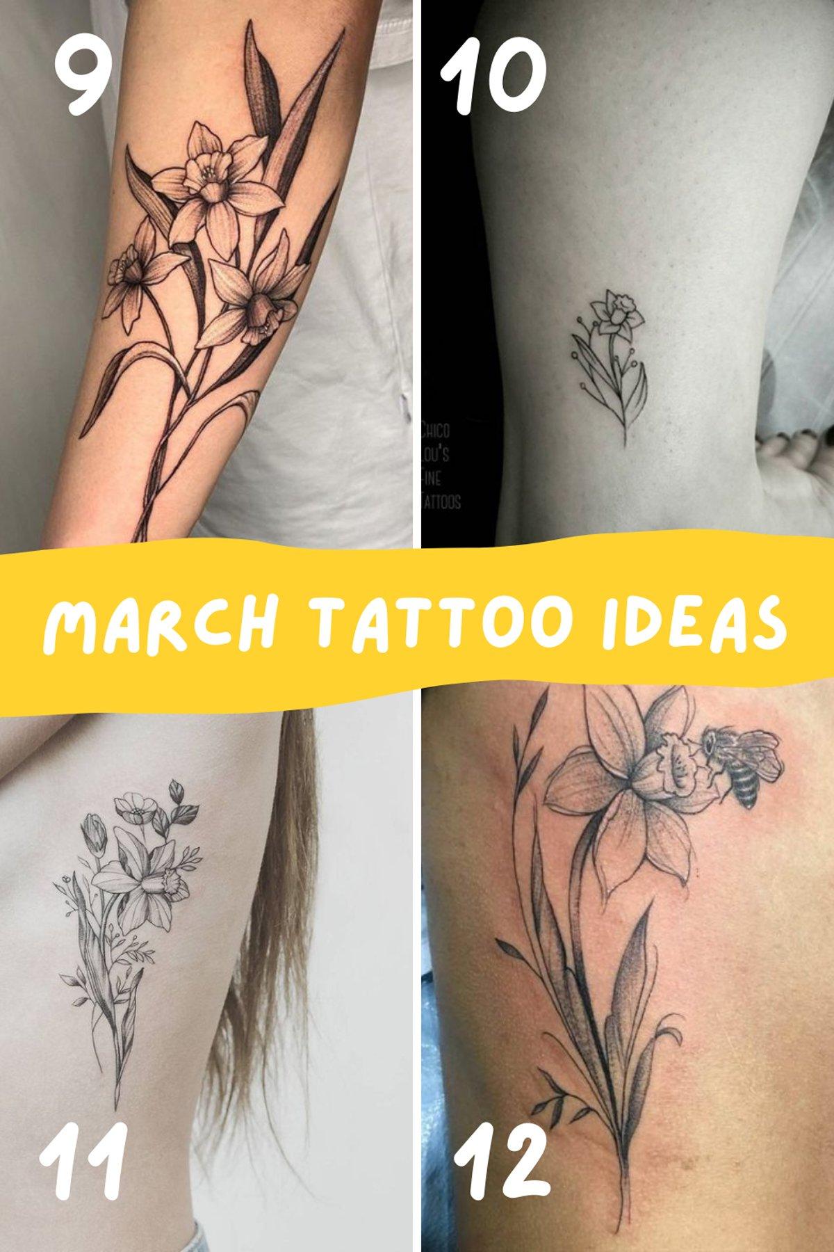 March Birth Flower tattoos