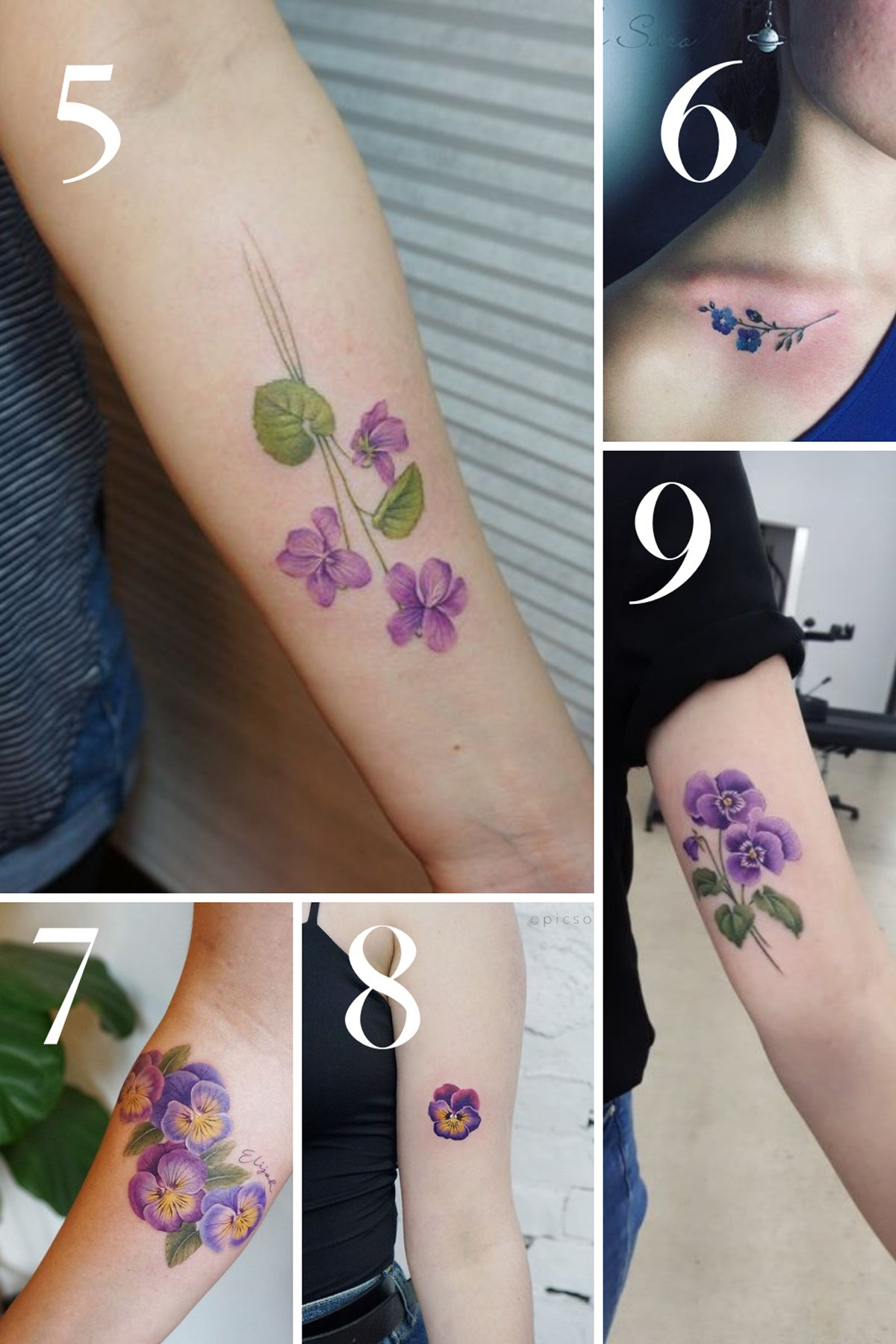 Violet Flower Tattoos Sigma Kappa