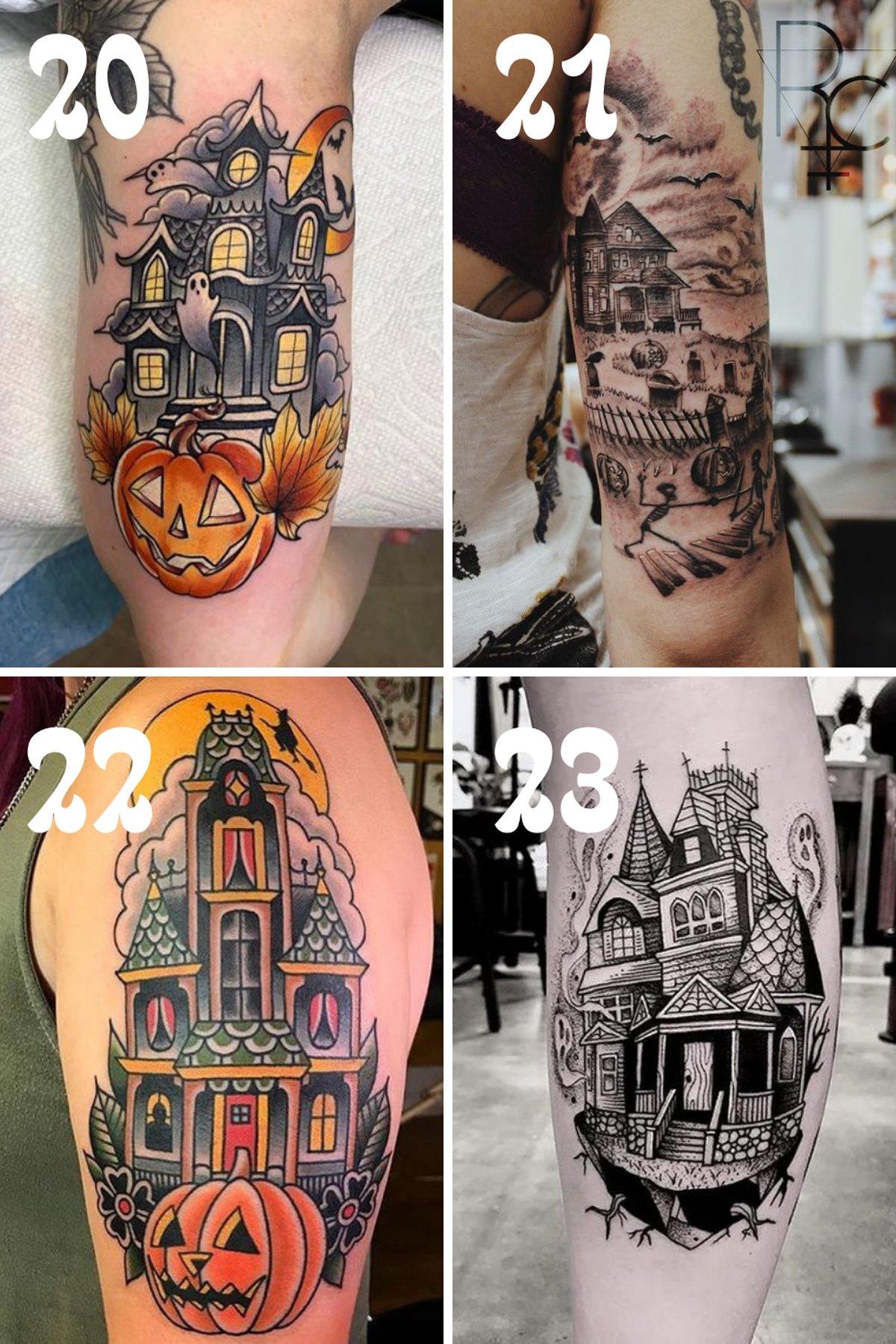 Haunted Mansion Design Halloween Tattoos