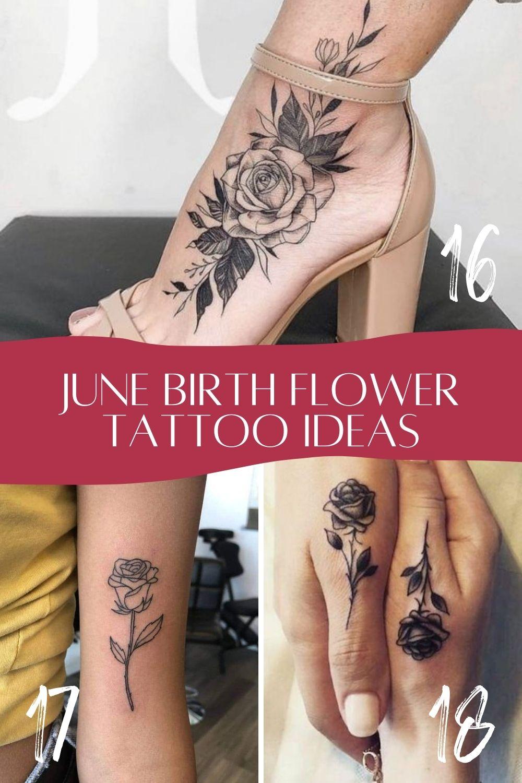 Black and white June Birth Flower Tattoo Idea