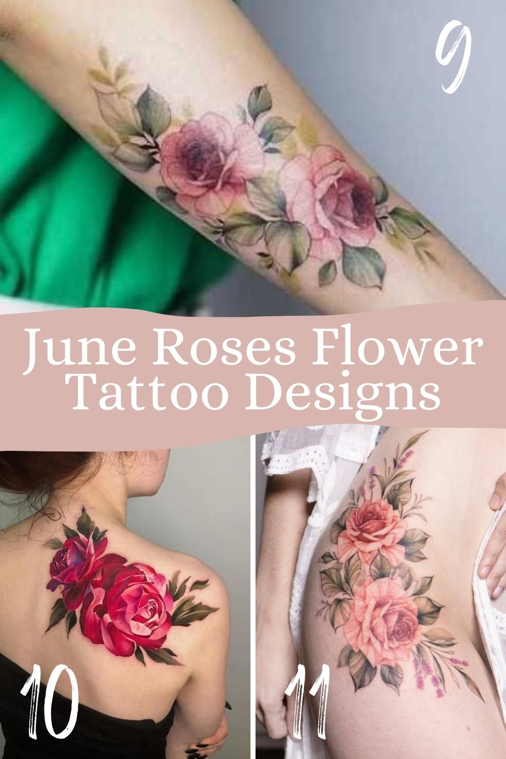 June Roses Flower Tattoo Designs With Leaves