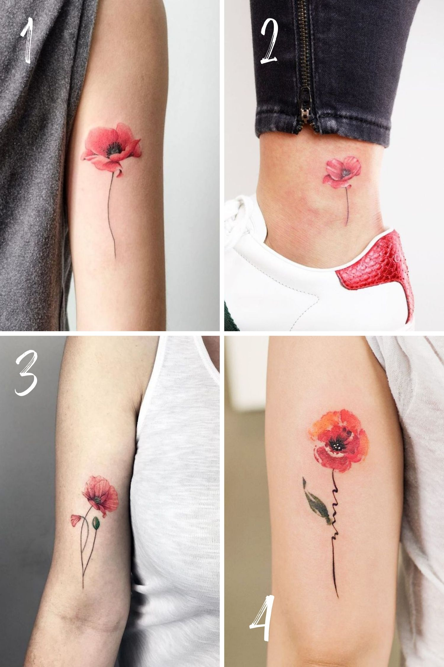 Red Poppy Flower Tattoos