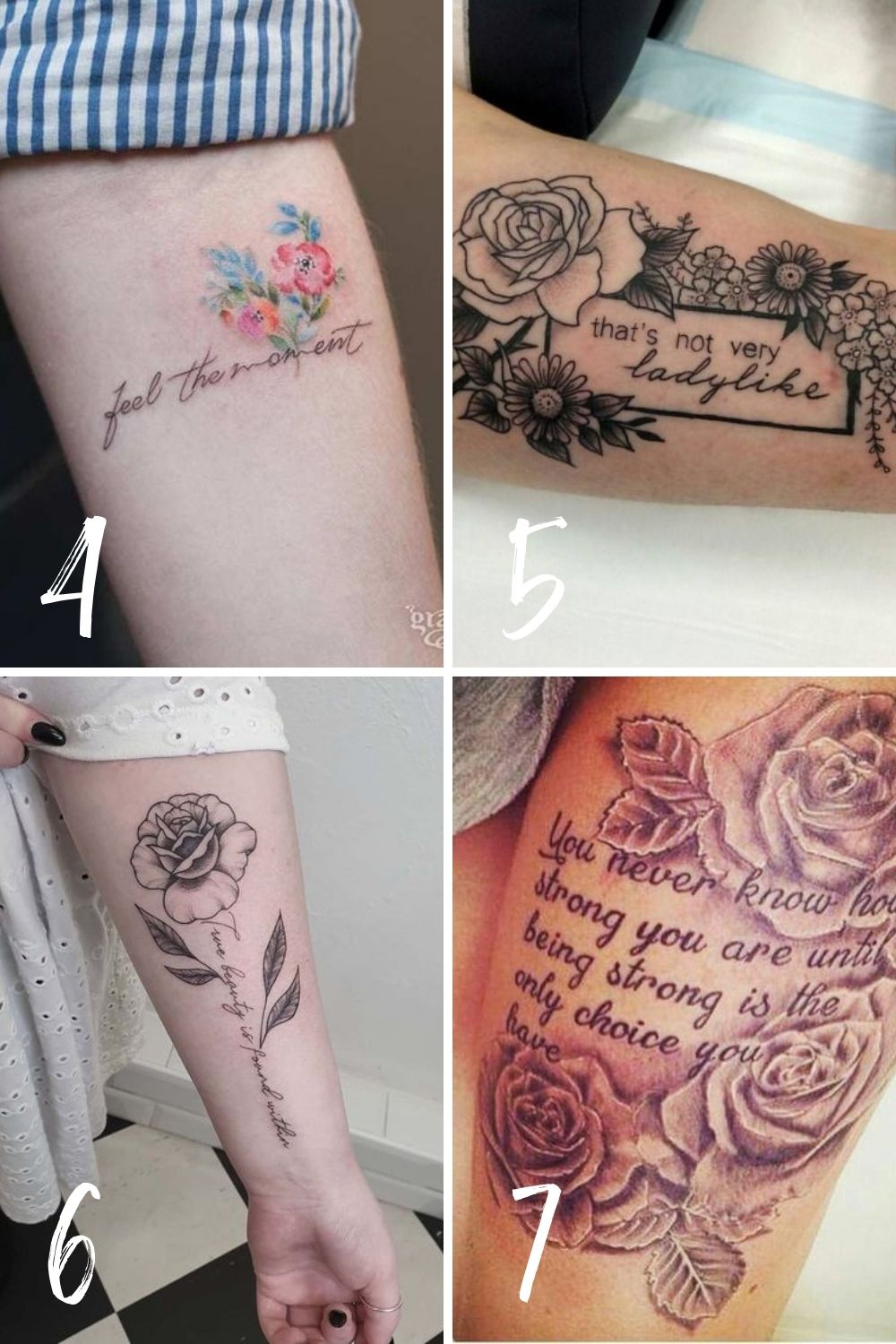 Quote Tattoo Floral Inspiration