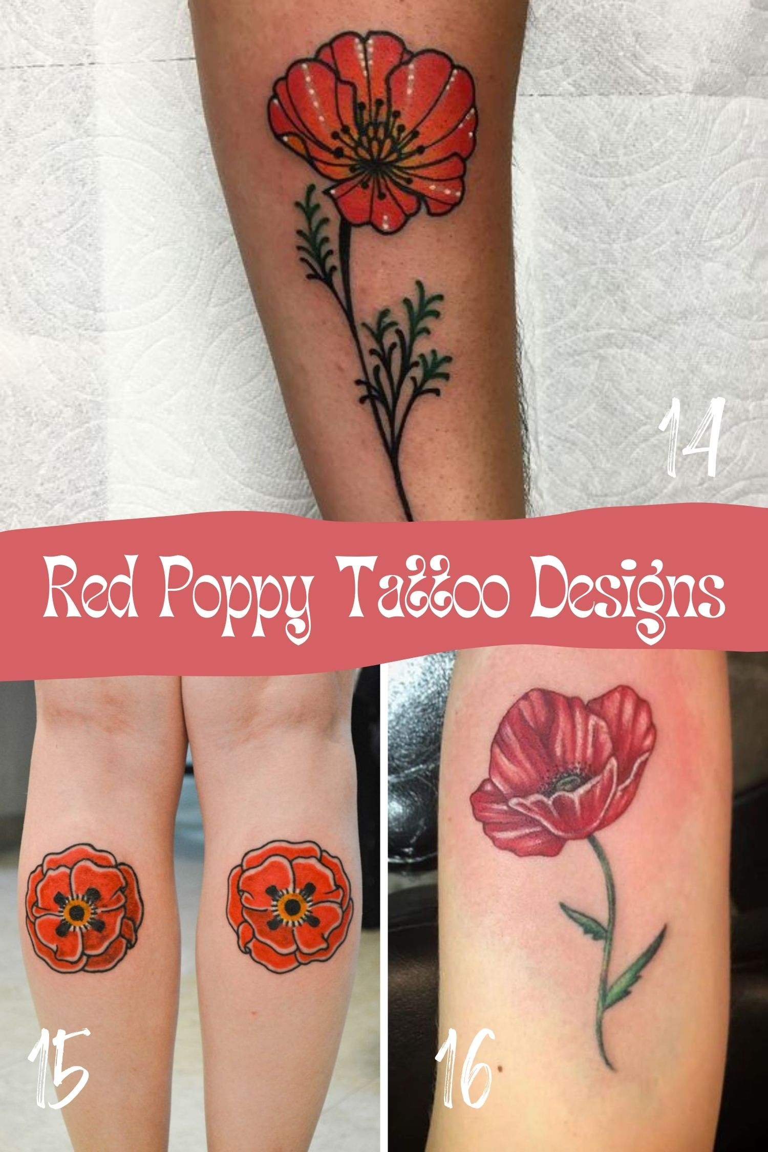 Red Flowers Tattoo Art