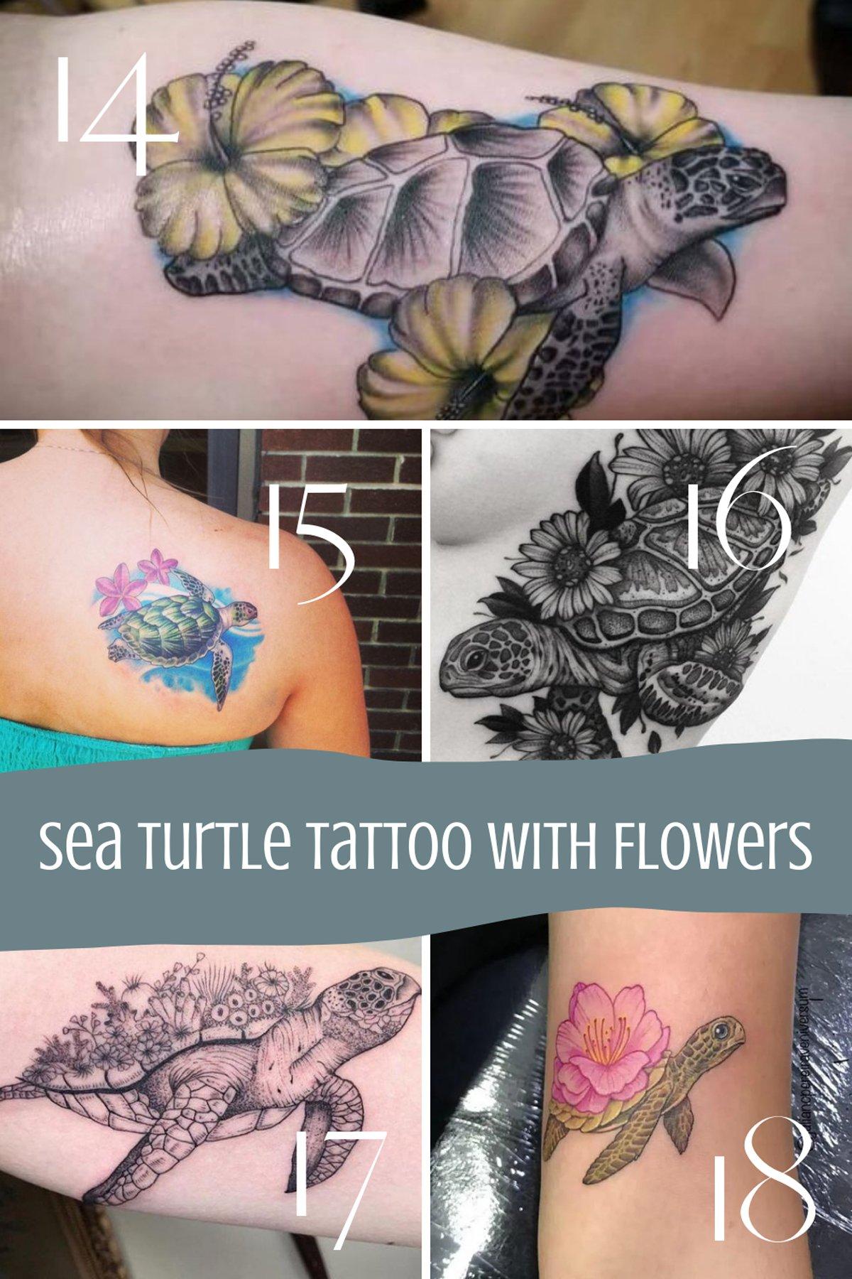 Sea Turtle Tattoo with Flowers