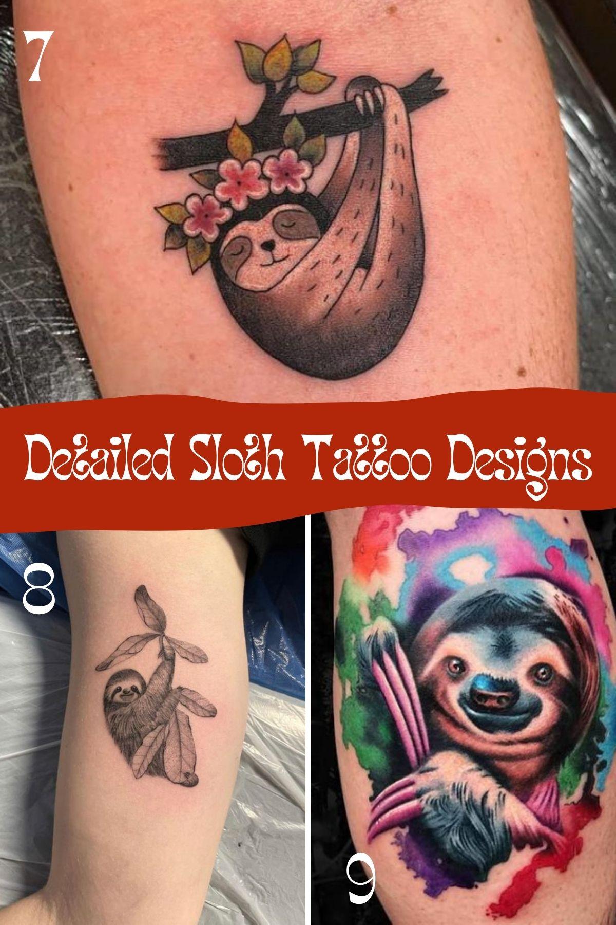 Simple Sloth Tattoo