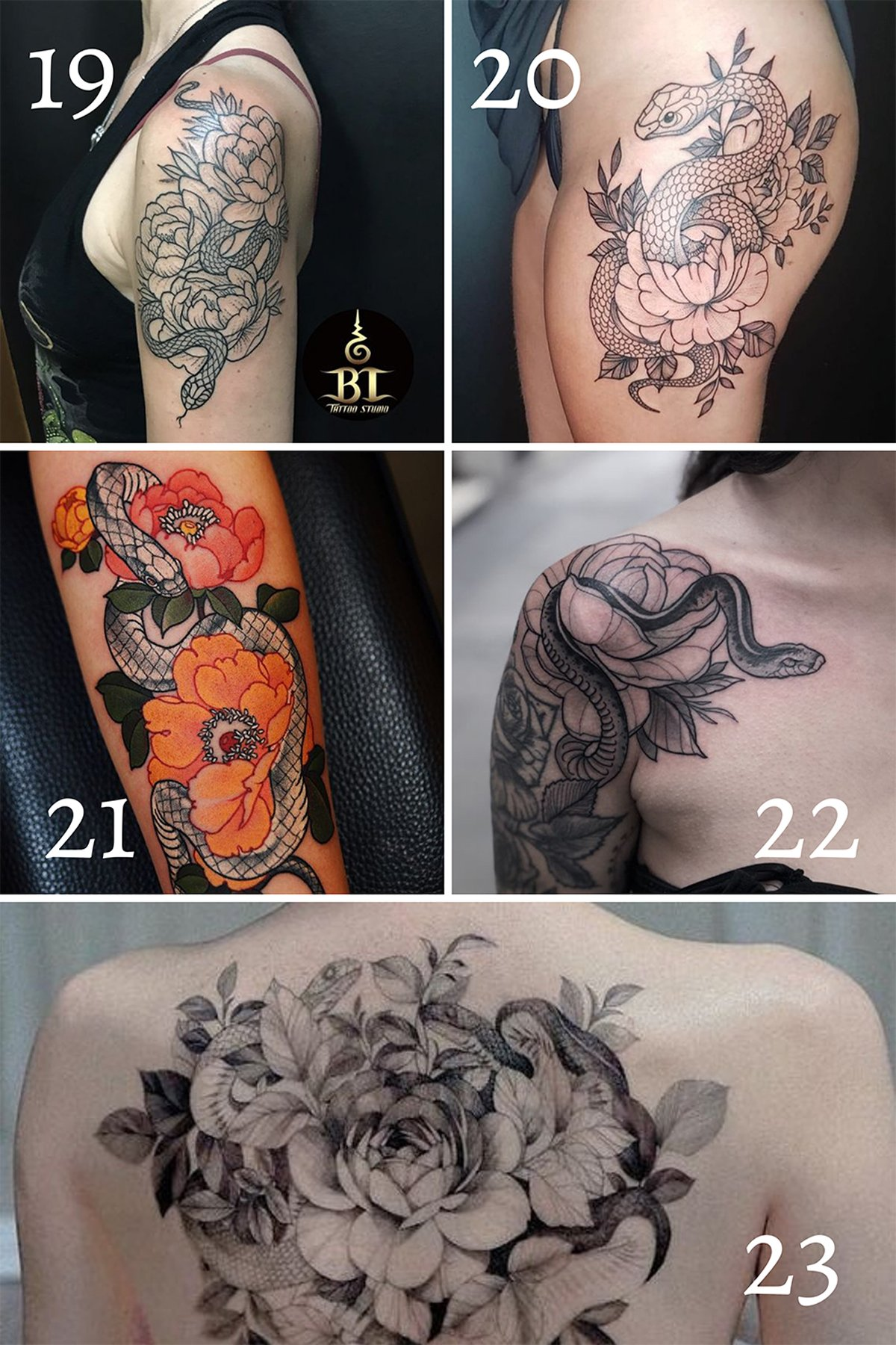 Large Snake Tattoos For Women