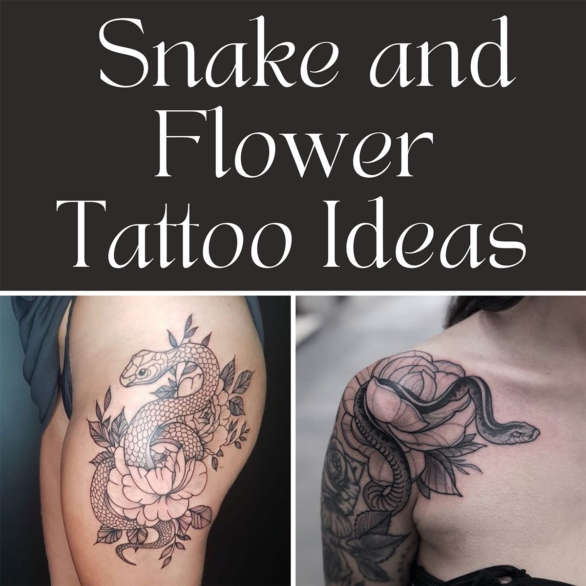 Snake and Flower Tattoo