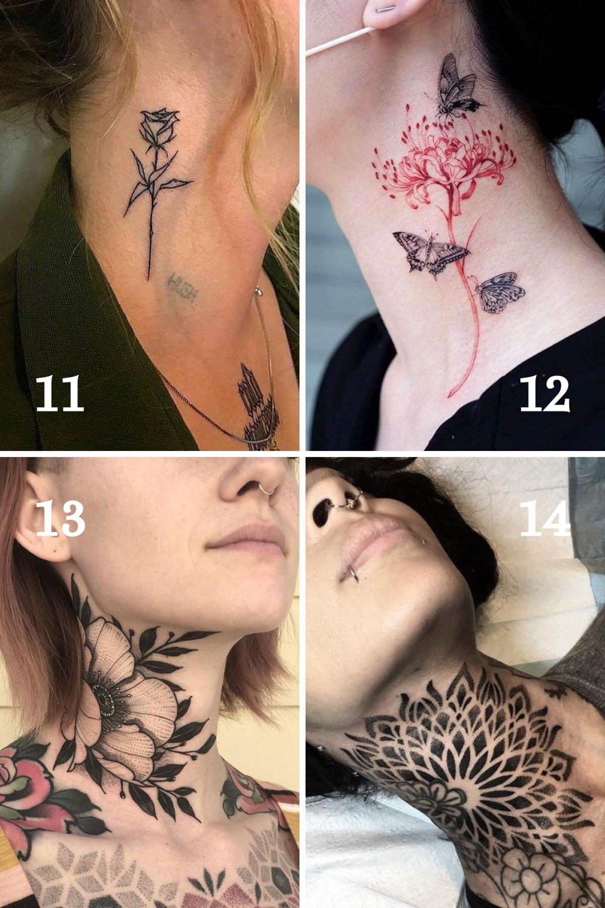 Flower Tattoo Ideas for Women's Necks