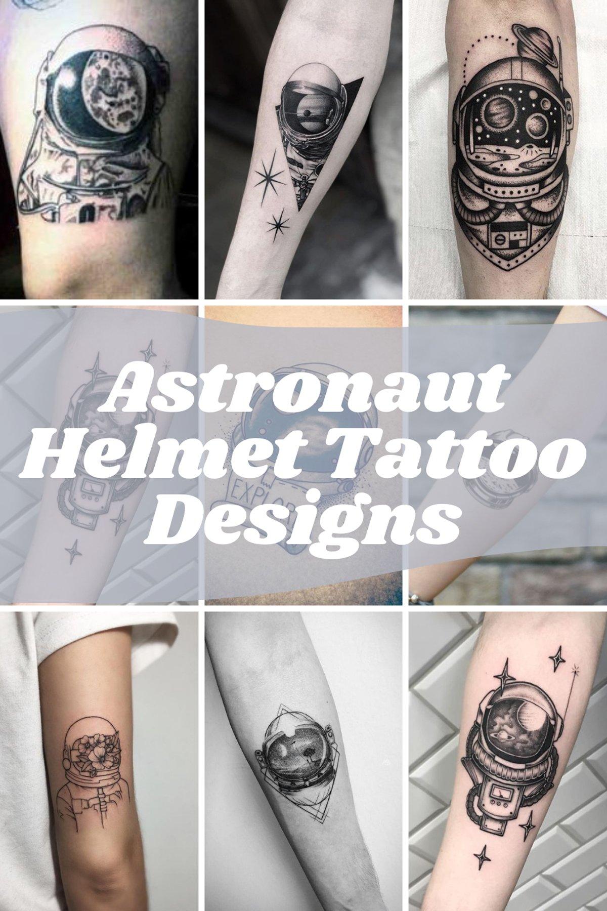 Astronaut Helmet Tattoo Designs