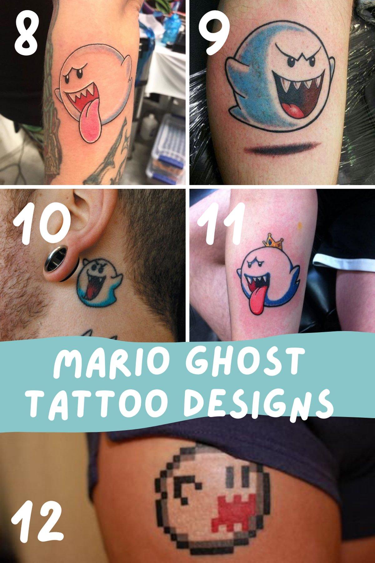 Mario Ghost Tattoo Designs