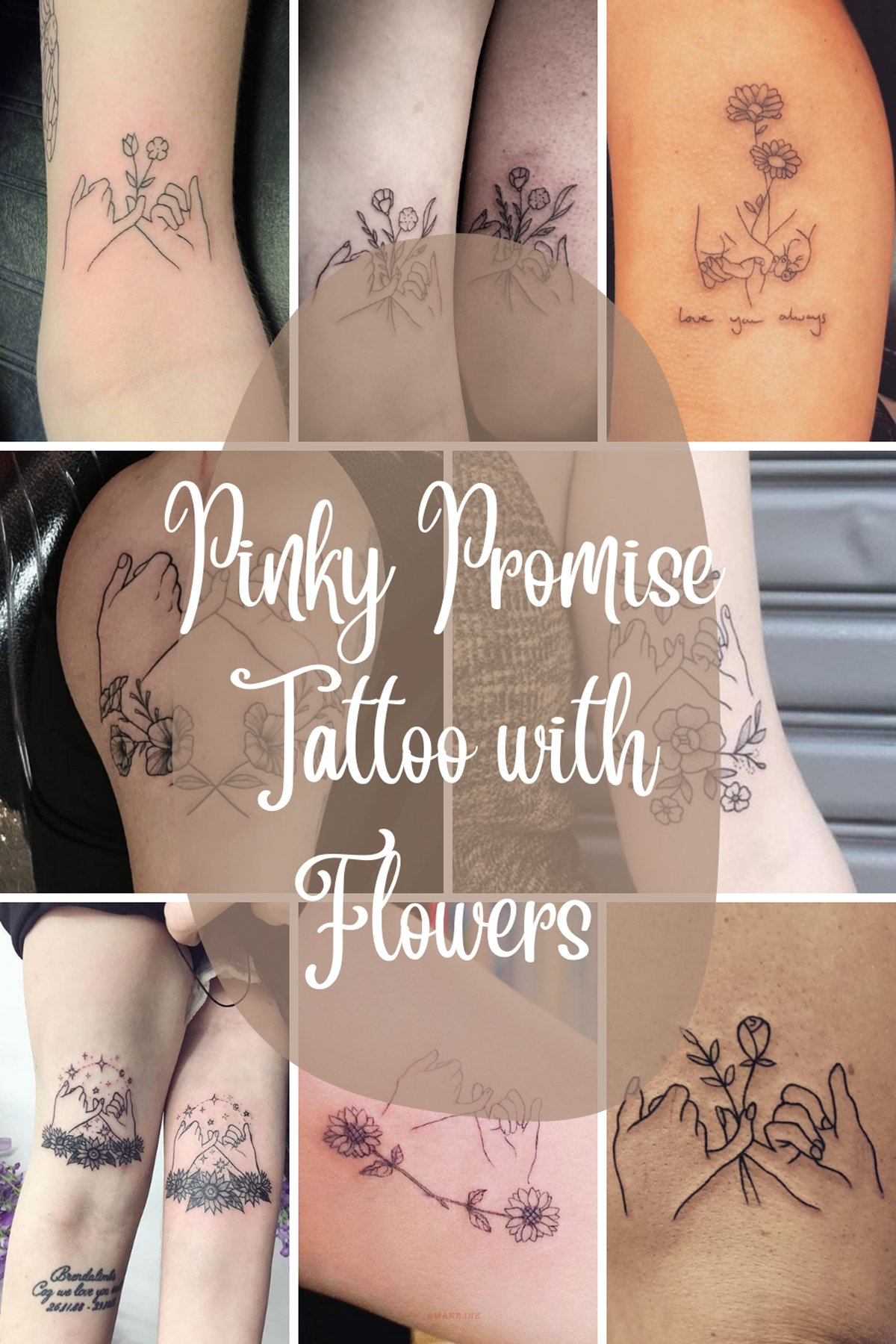 Pinky Promise Tattoo with Flowers