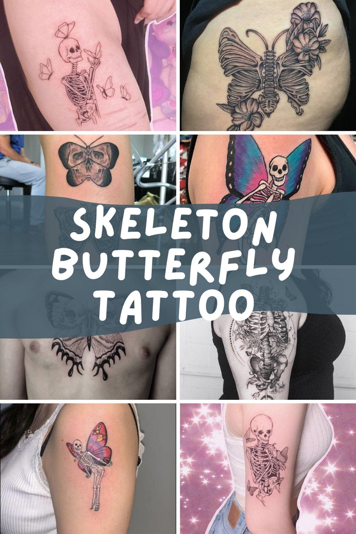 Skeleton Butterfly Tattoo