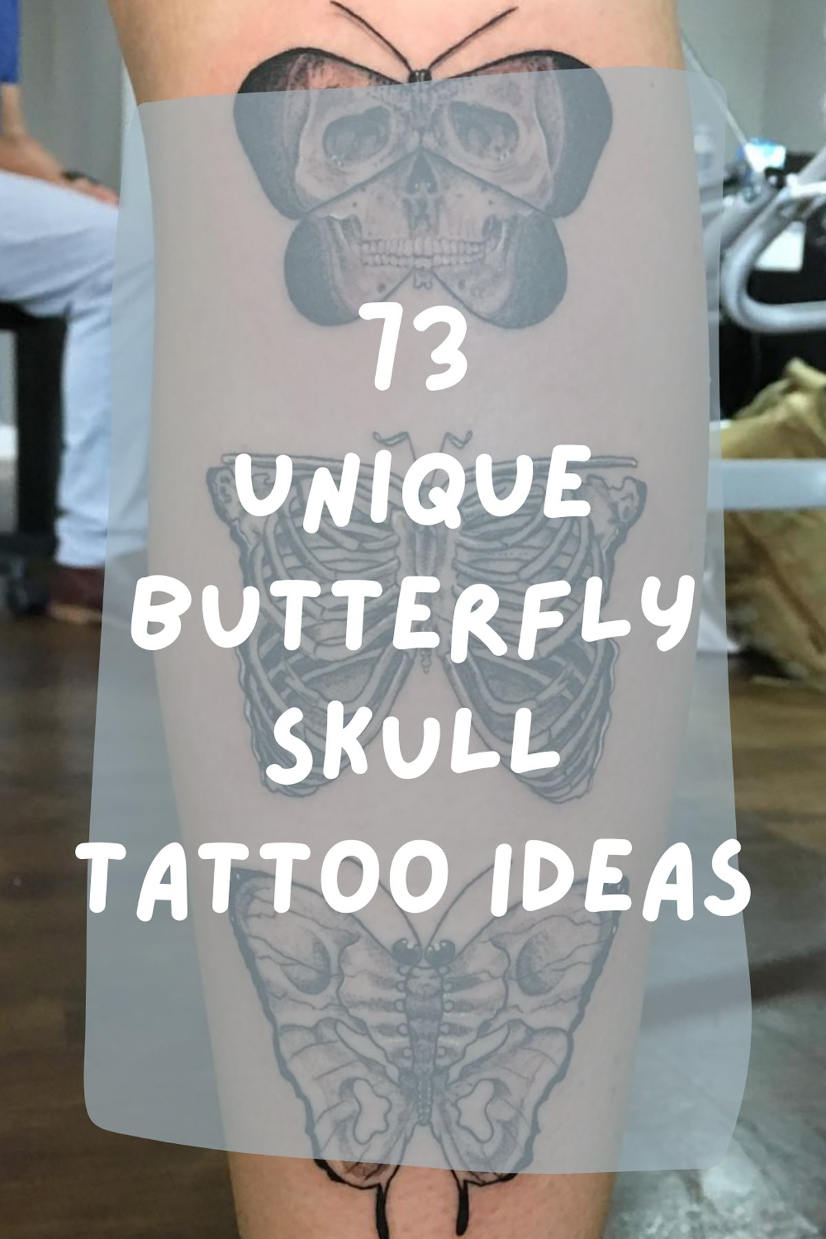 Skull and Butterfly Design Ink