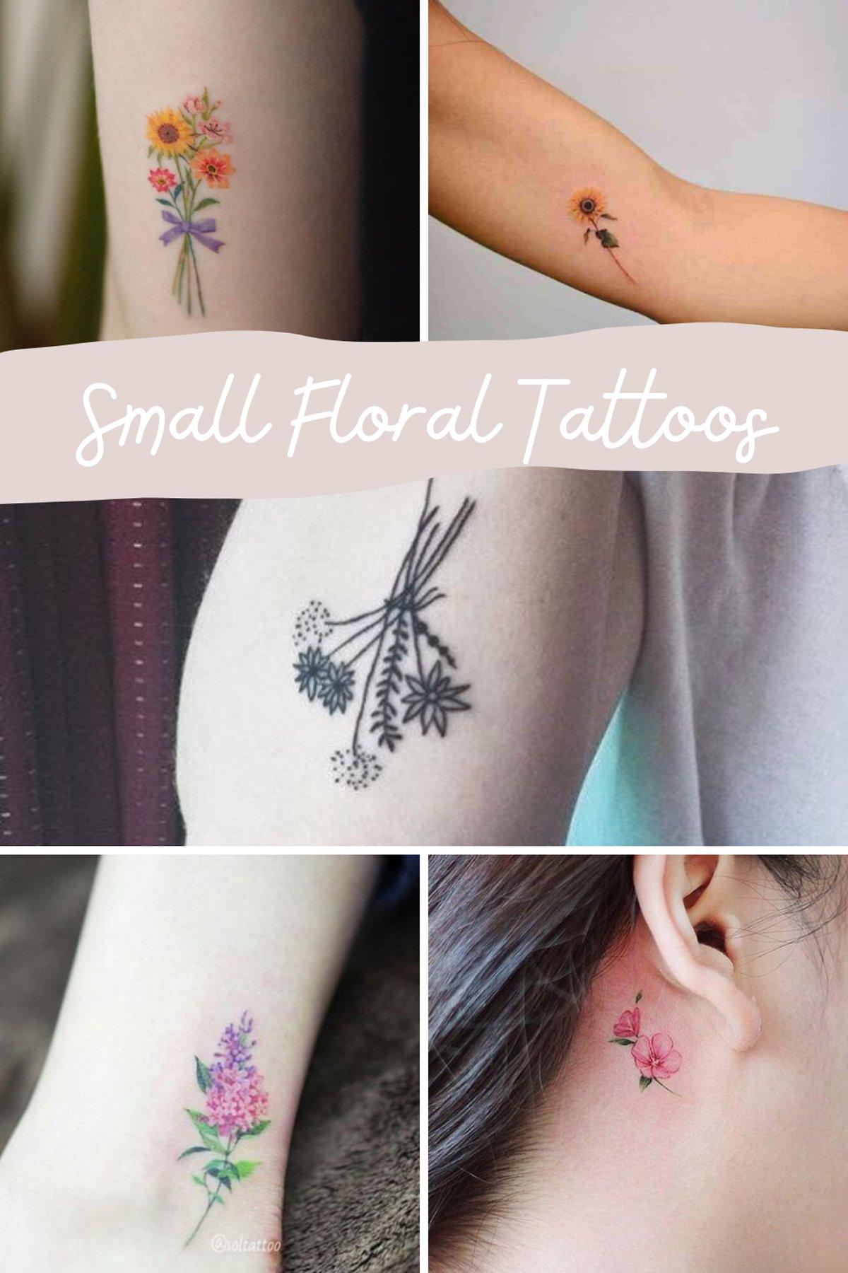 Tiny Flower Wrist Tattoos
