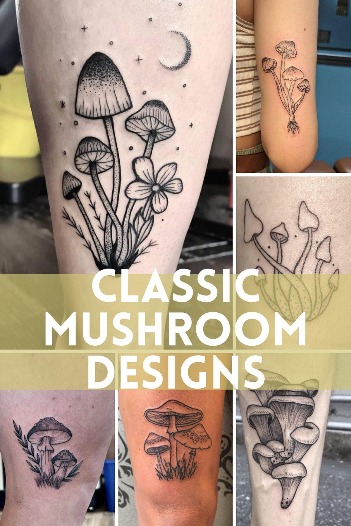 Traditional Mushroom Tattoo Classic Ideas