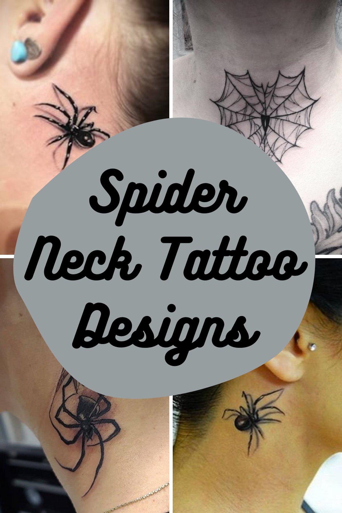 Spider Neck Tattoo Designs